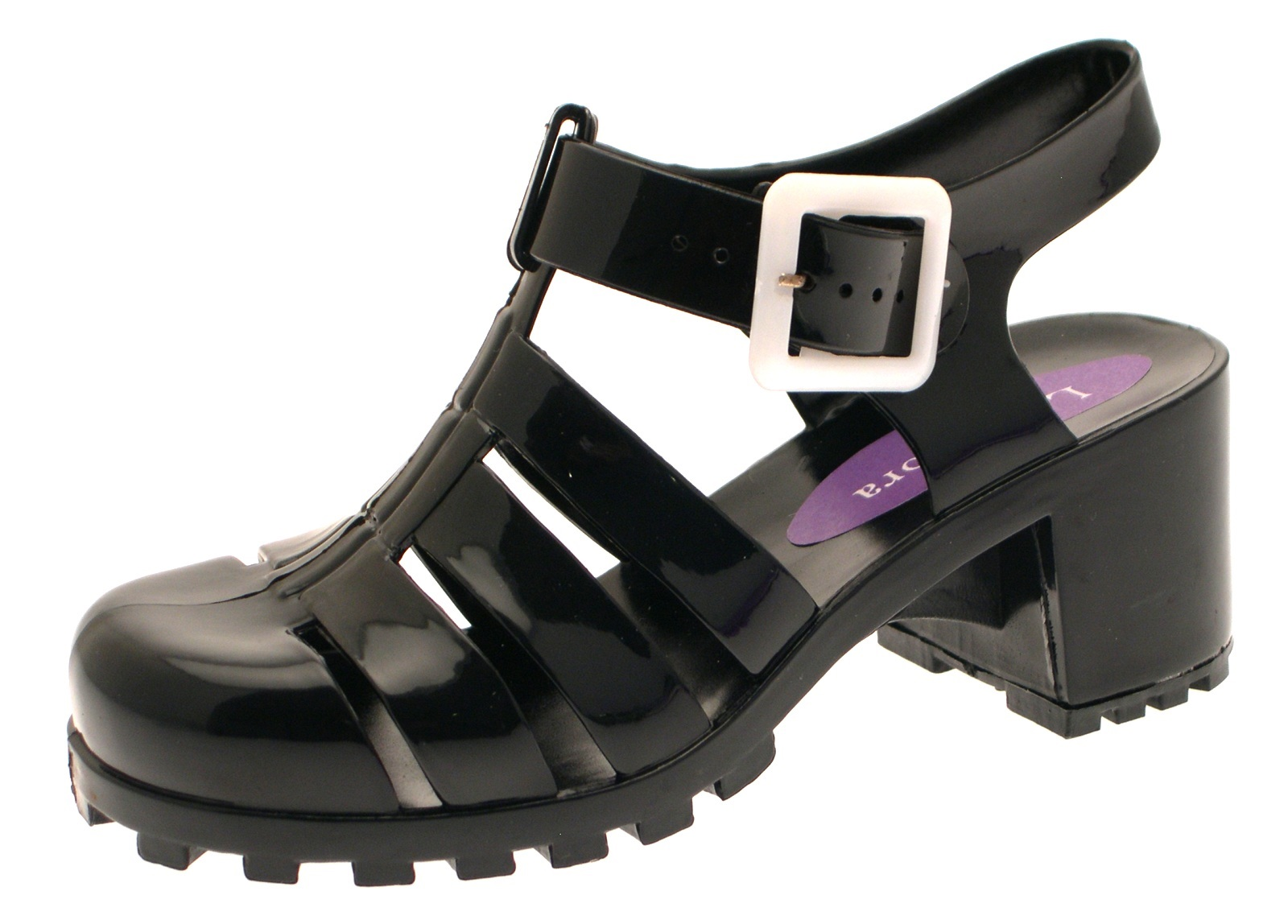 Girls Jelly Sandals Shoes Chunky Block Heel Diamante Kids ...