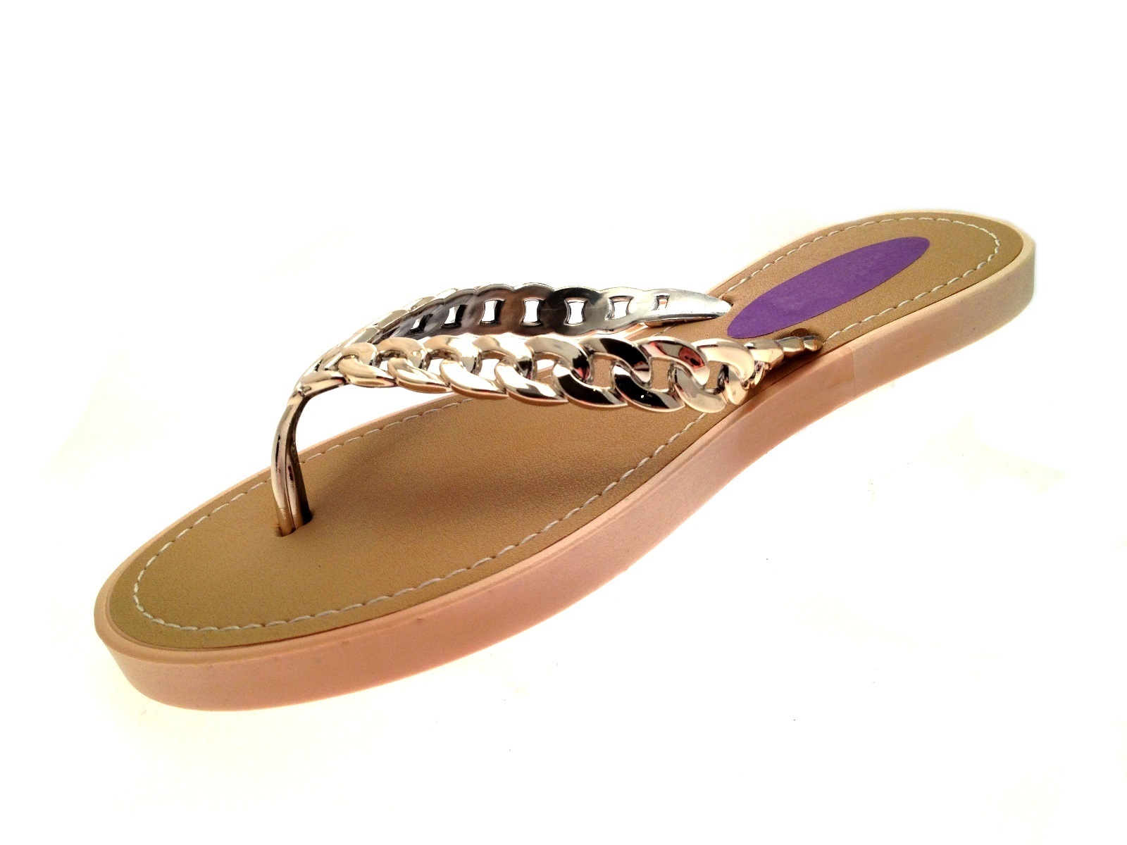 0bc5db318394 Womens Summer Sandals Chain Toe Posts Metallic Beach Flip Flops ...