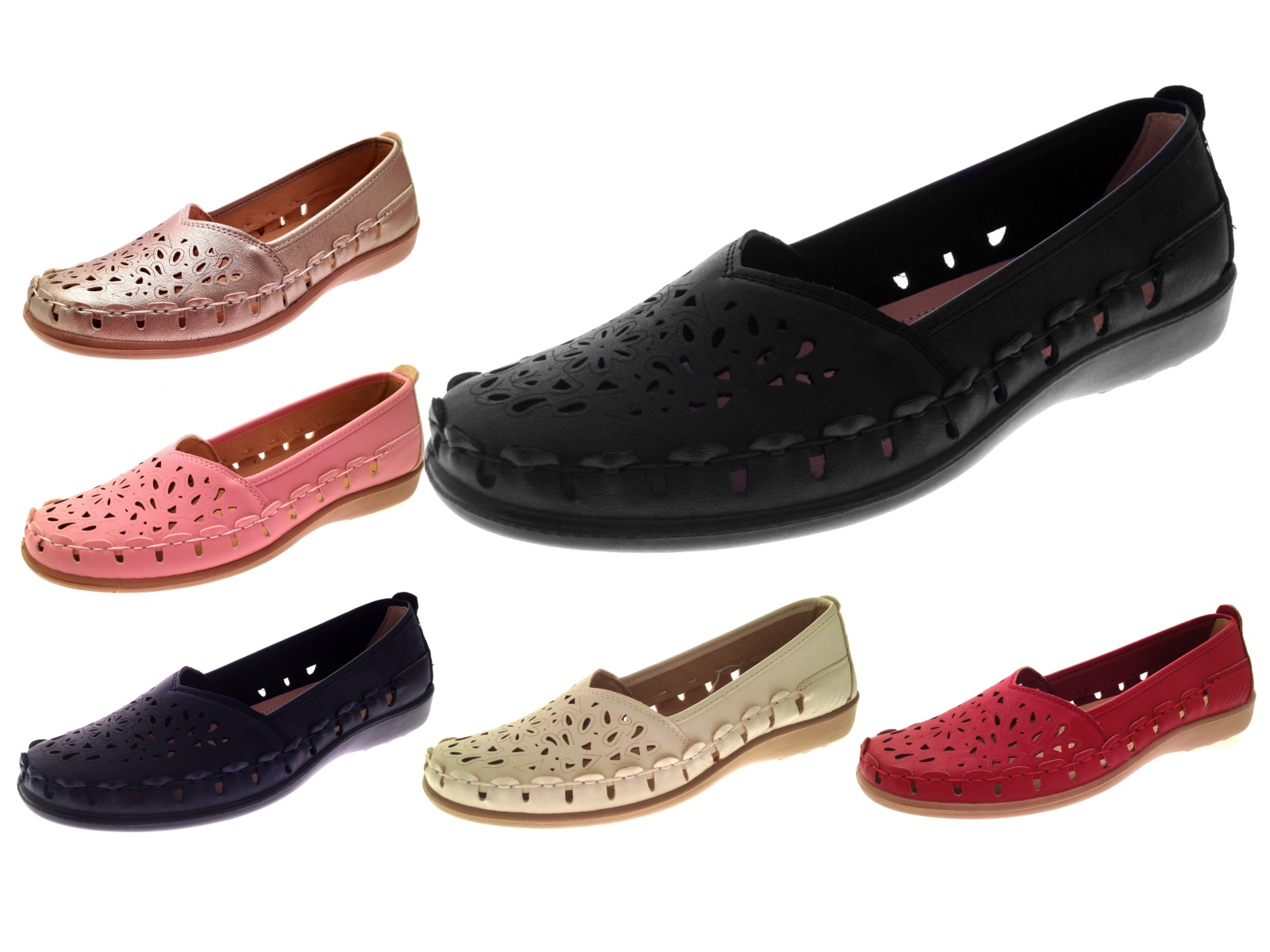 607d5b008ad Womens Faux Leather Comfort Loafers Cut Out Shoes Casual Summer Flats Size  3-8
