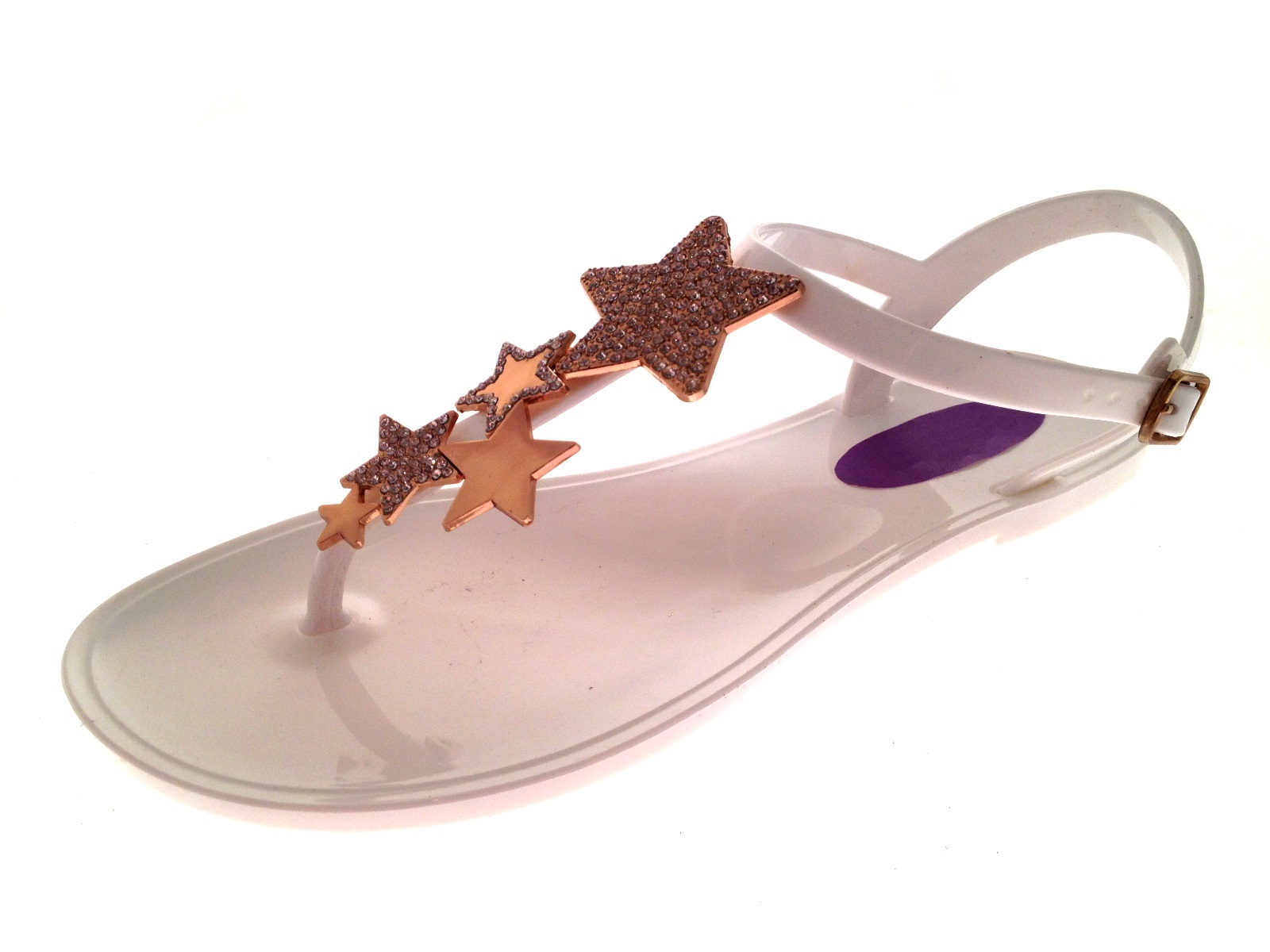 ae8506d055ba Womens Jelly Sandals Jewel Broach Diamante Star Toe Posts Jellies ...