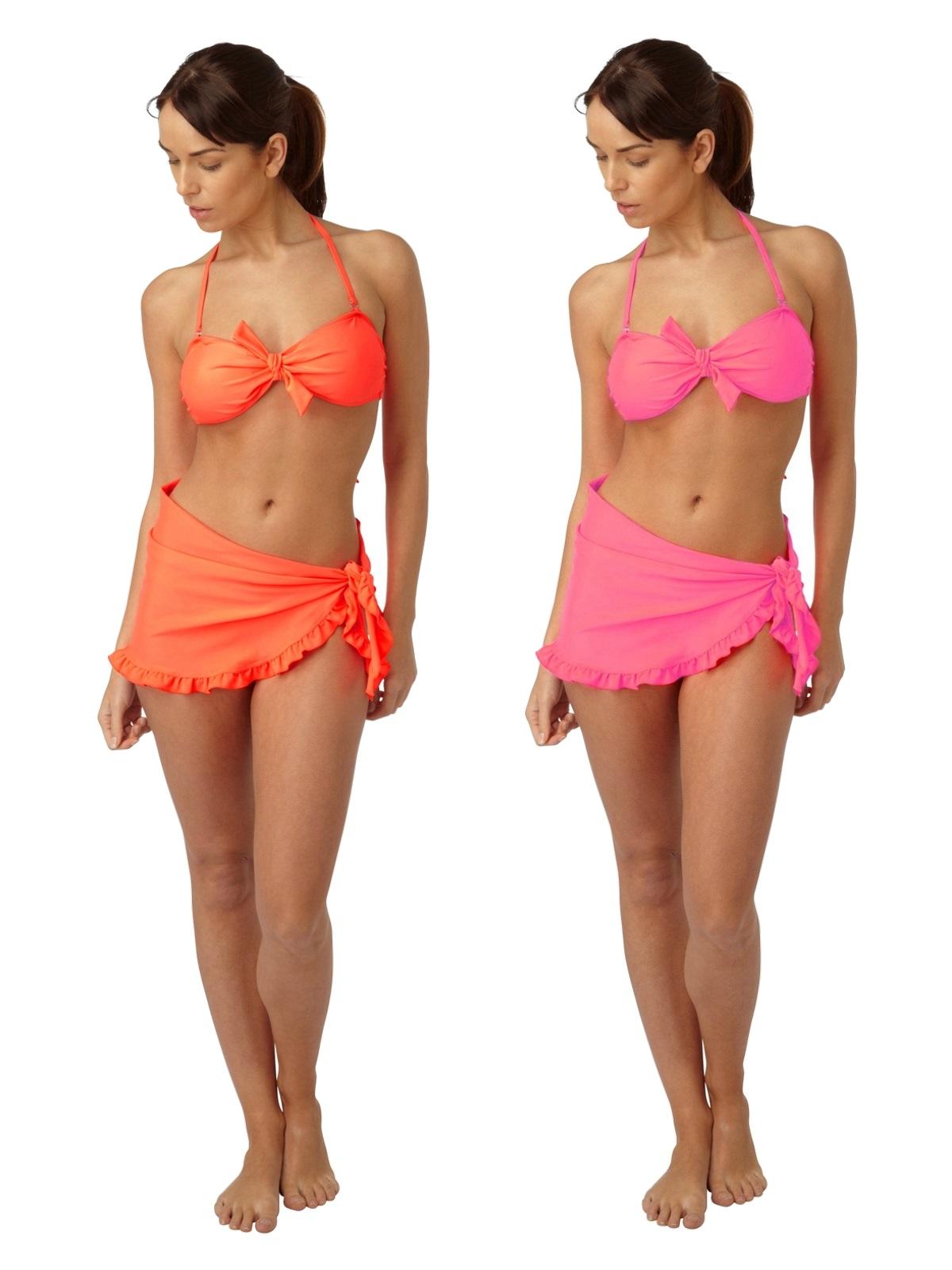 90956eac98c Womens Neon Bikini Set Top + Bottoms + Sarong/Skirt Ladies Swimwear Size  10-16