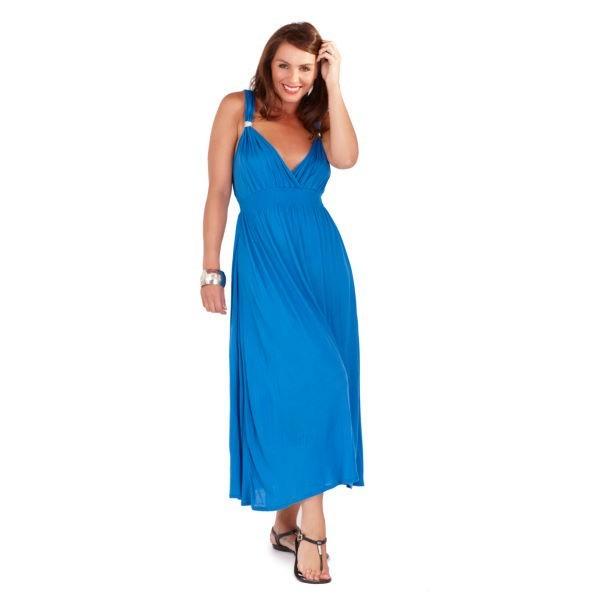 2569f880ad8 Womens Summer Dress Maxi Full Length Ladies V Neck Beach Holiday Size UK 8- 16