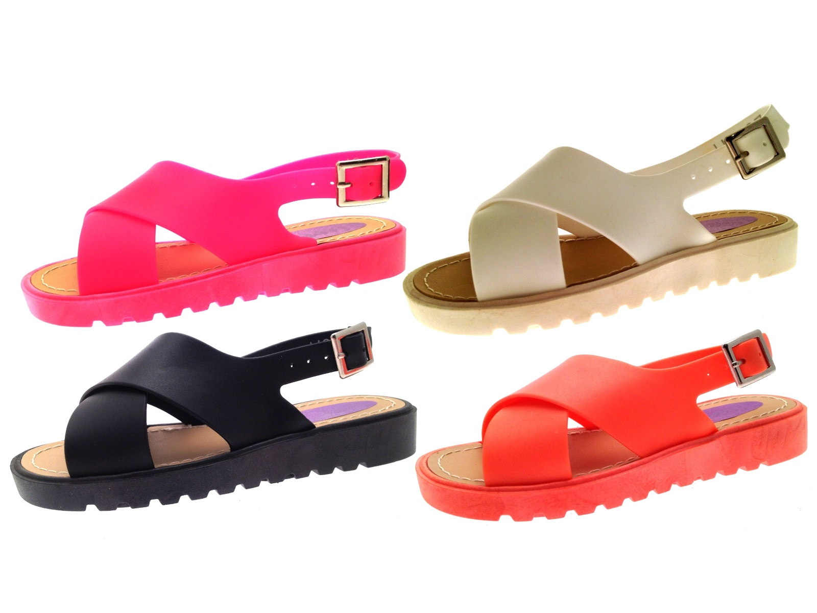 Fresh Girls Jelly Sandals Crossover Straps Slingback Shoes Beach Jellies  SC52
