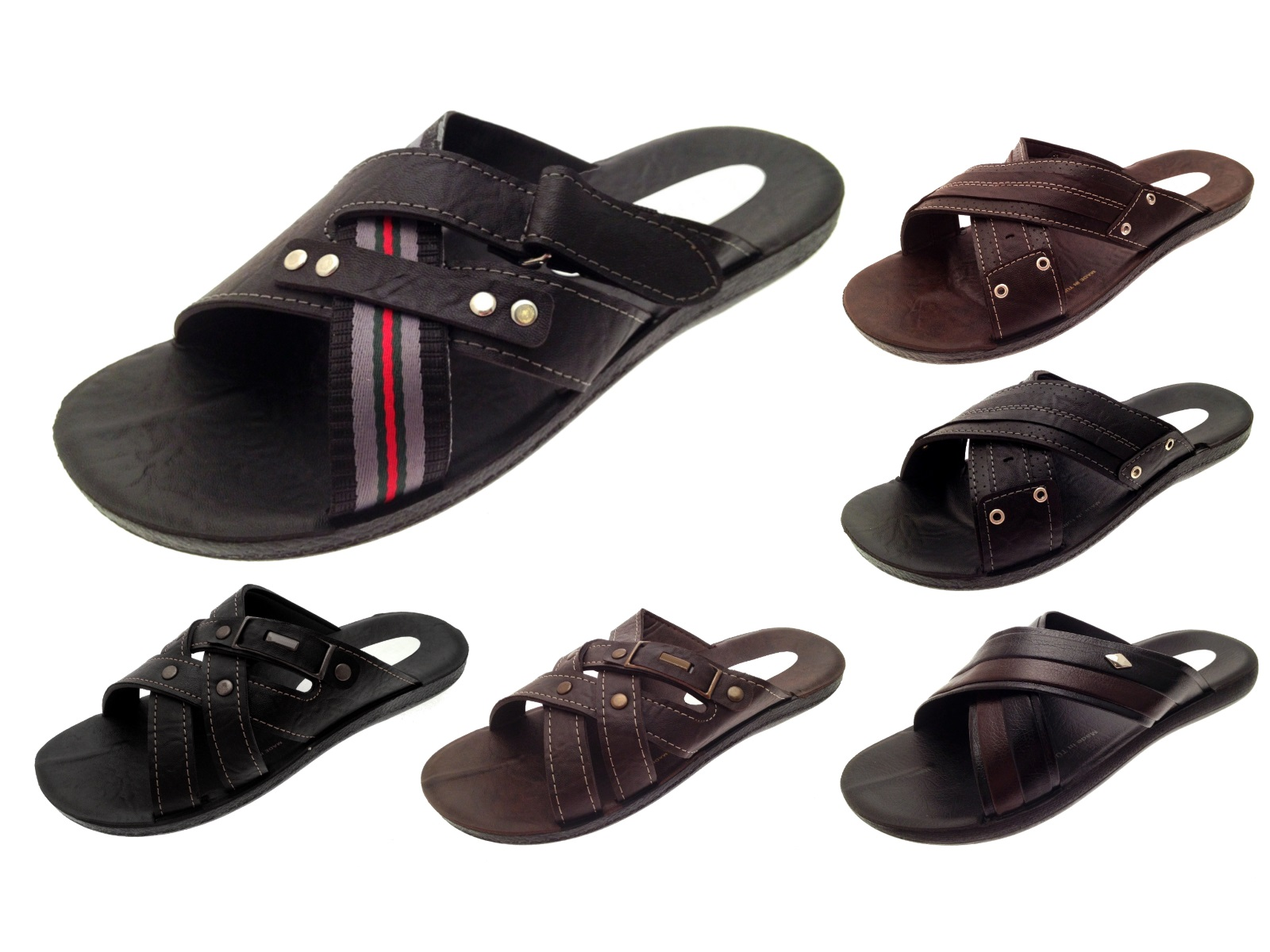 Shoes Summer Sandals Mens Faux Leather Slip On Beach Holiday Mules