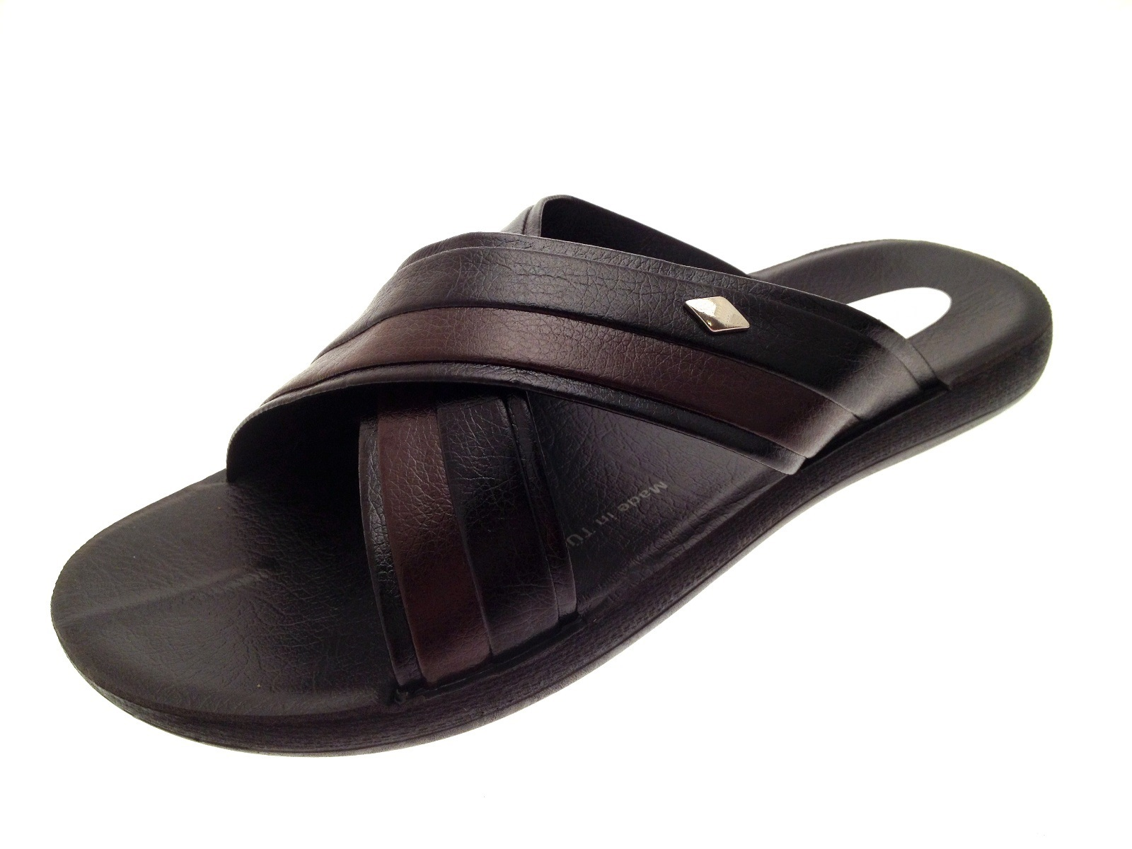 286dd22b5845 Mens Vintage Flip Flops Beach Sandals Faux Leather Holiday Mules ...