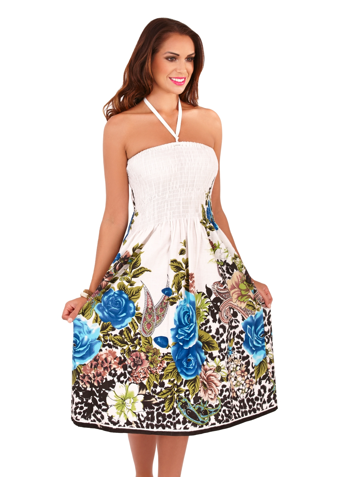 e39924d09094 Womens 3 In 1 Strapless / Halterneck Summer Dress / Stretch Maxi ...
