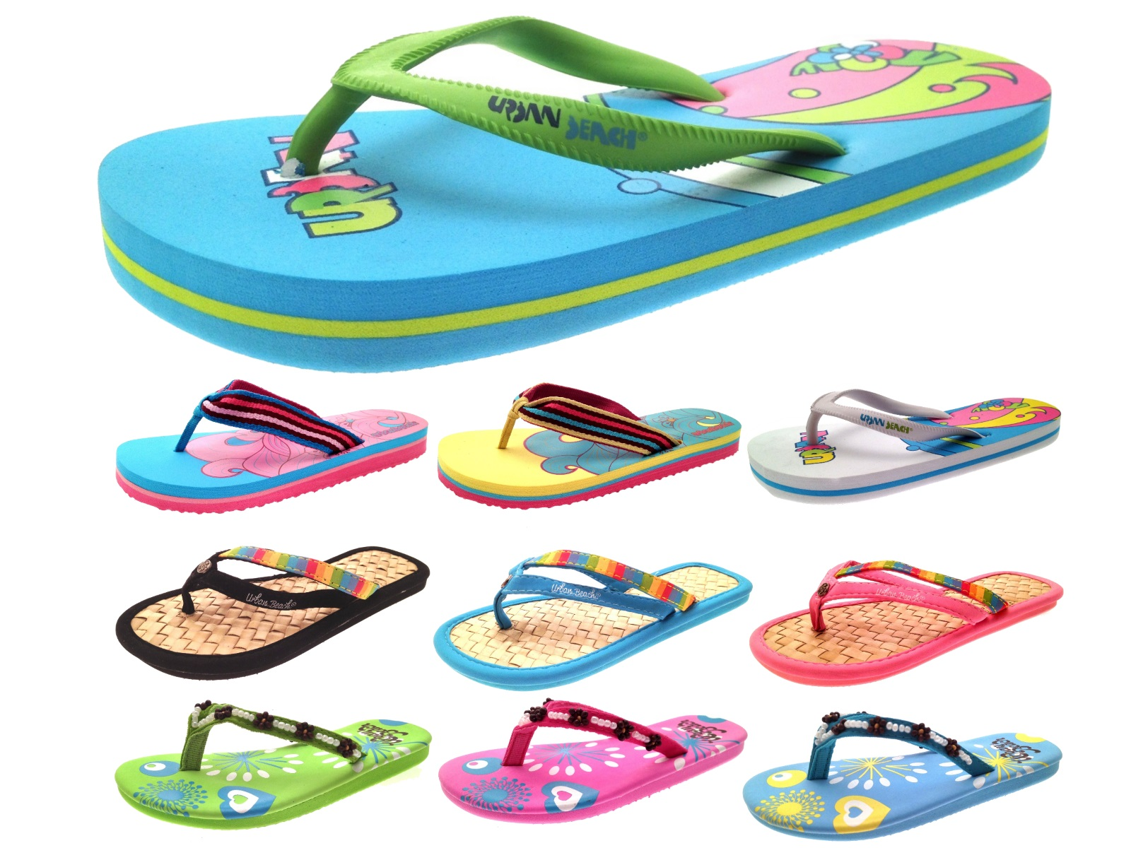 99a1a621f Womens Girls Urban Beach Sandals Flip Flops Toe Posts Kids Toe Post ...