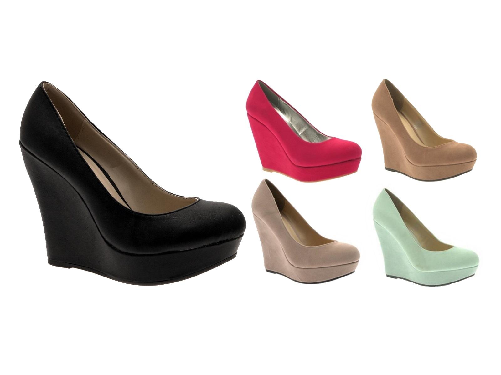 44cc308edb0 Womens Wedge Platforms High Heels Full Toe Court Shoes Ladies Girls Size UK  3-8
