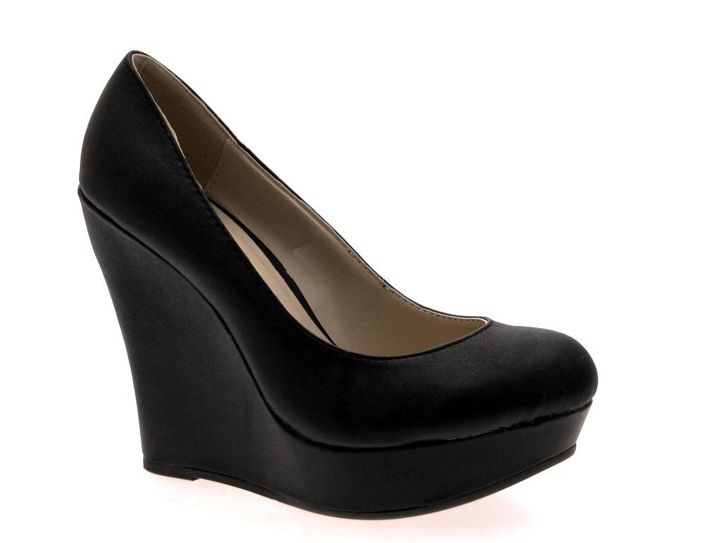 10120c0ee24 Womens Wedge Platforms High Heels Full Toe Court Shoes Ladies Girls ...