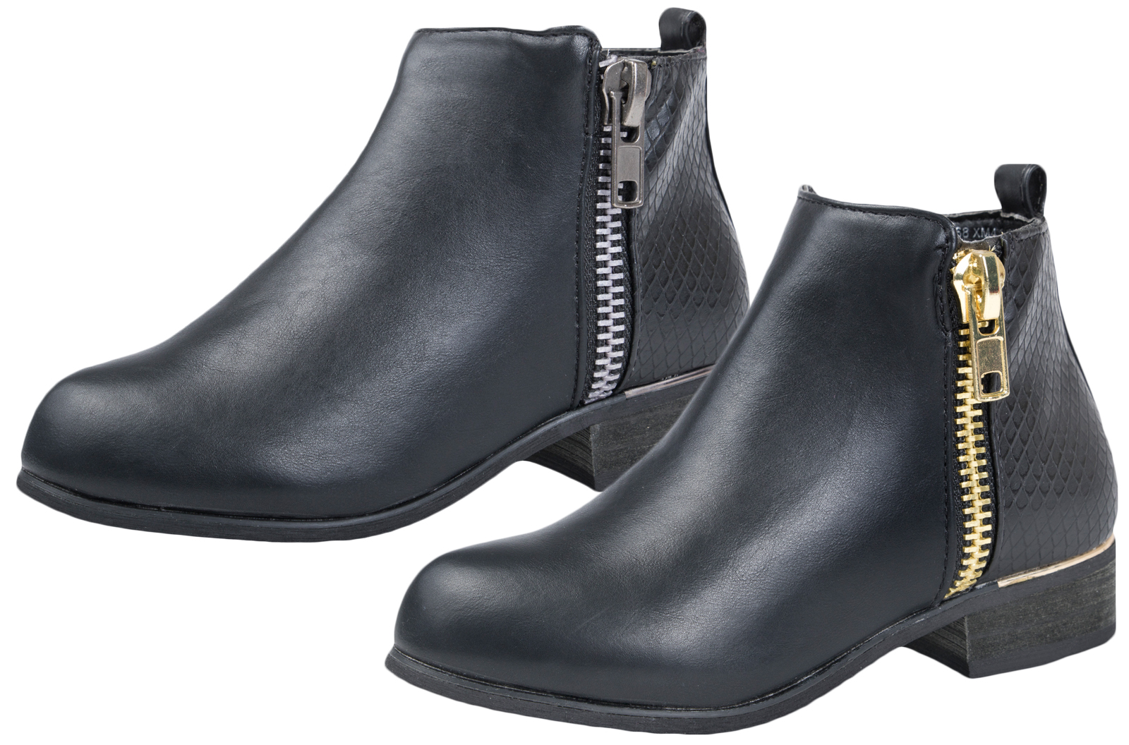 Details about Girls Faux Leather Chelsea Ankle Boots Casual Black School  Shoes Kids Size