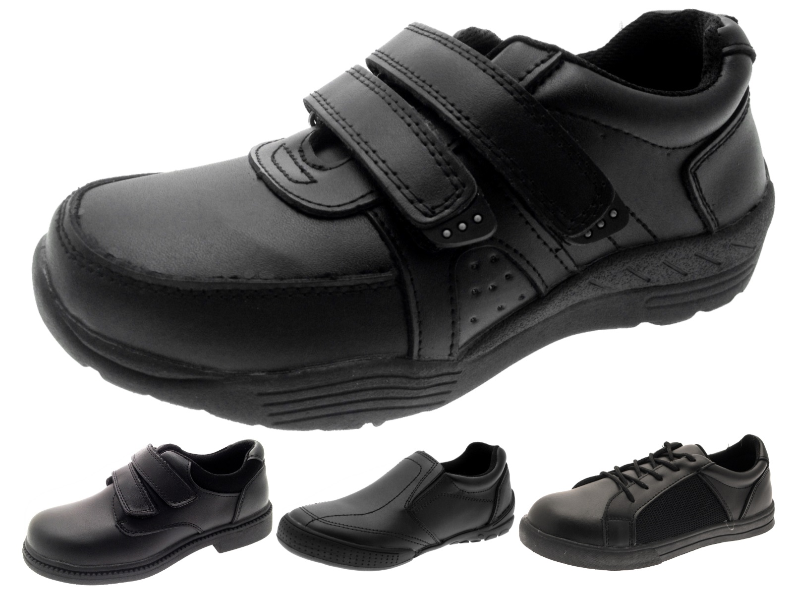 Boys Black Leather School Shoes Lace Up