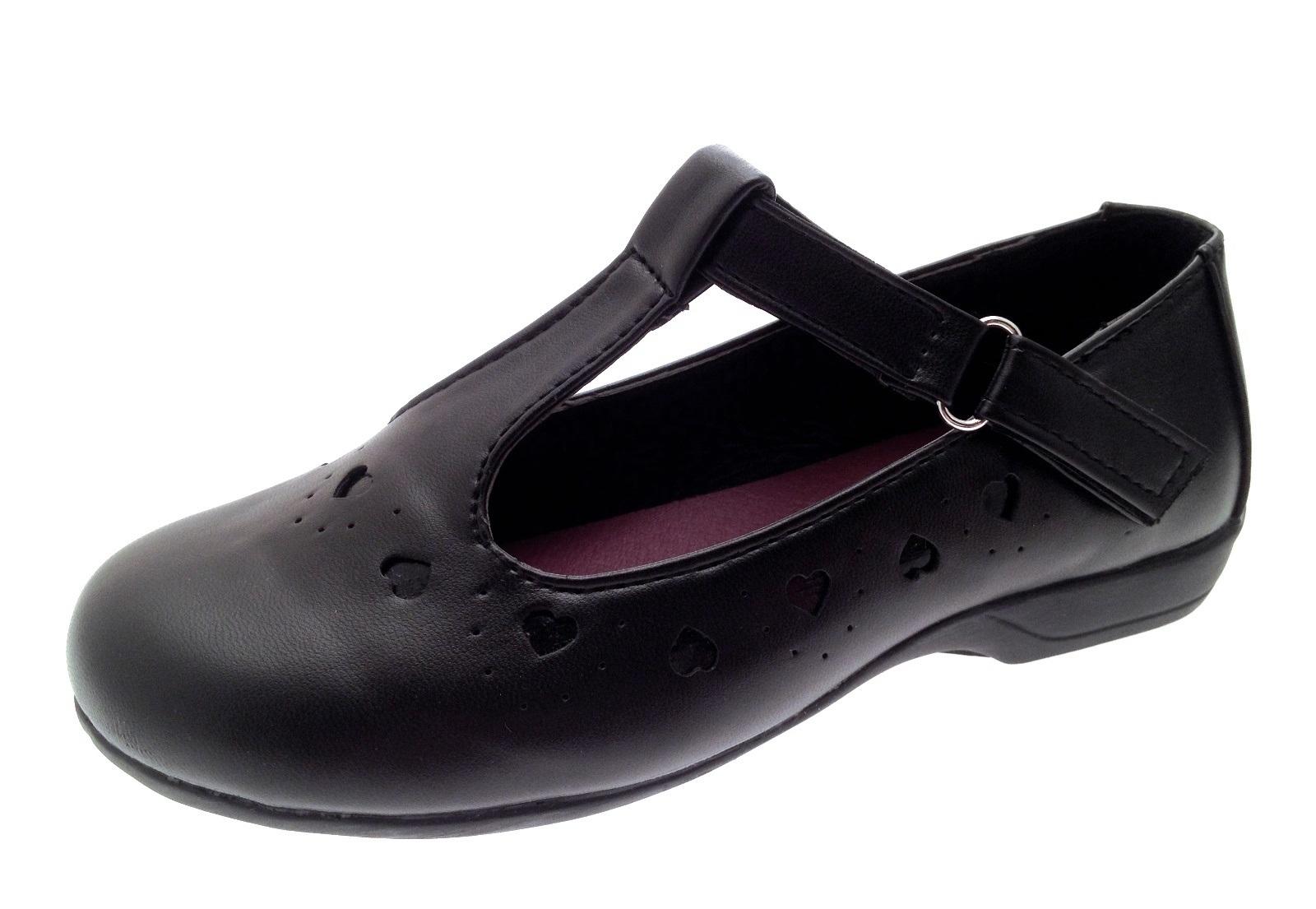 Girls Black School Shoes Faux Leather T