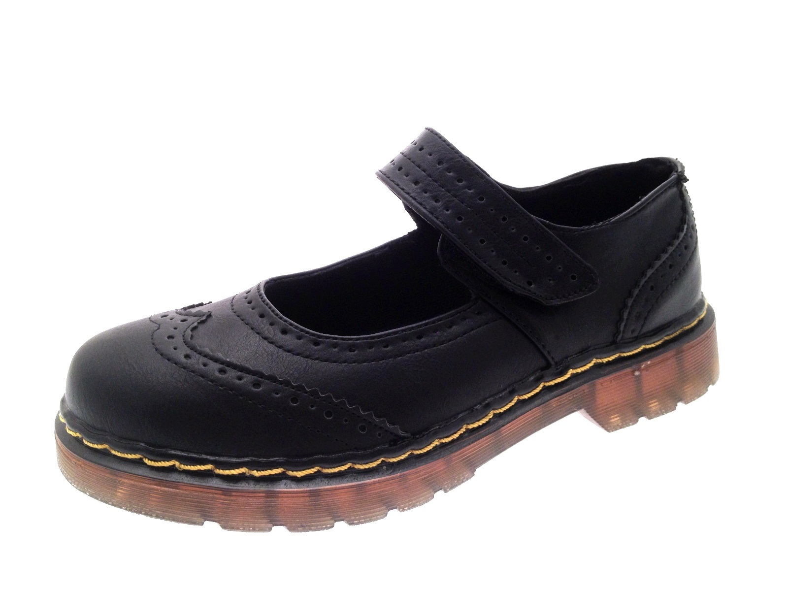 ad9272e2922 Girls Womens Kids Black Mary Jane   T Bar School Shoes Flat Chunky Brogues  Size