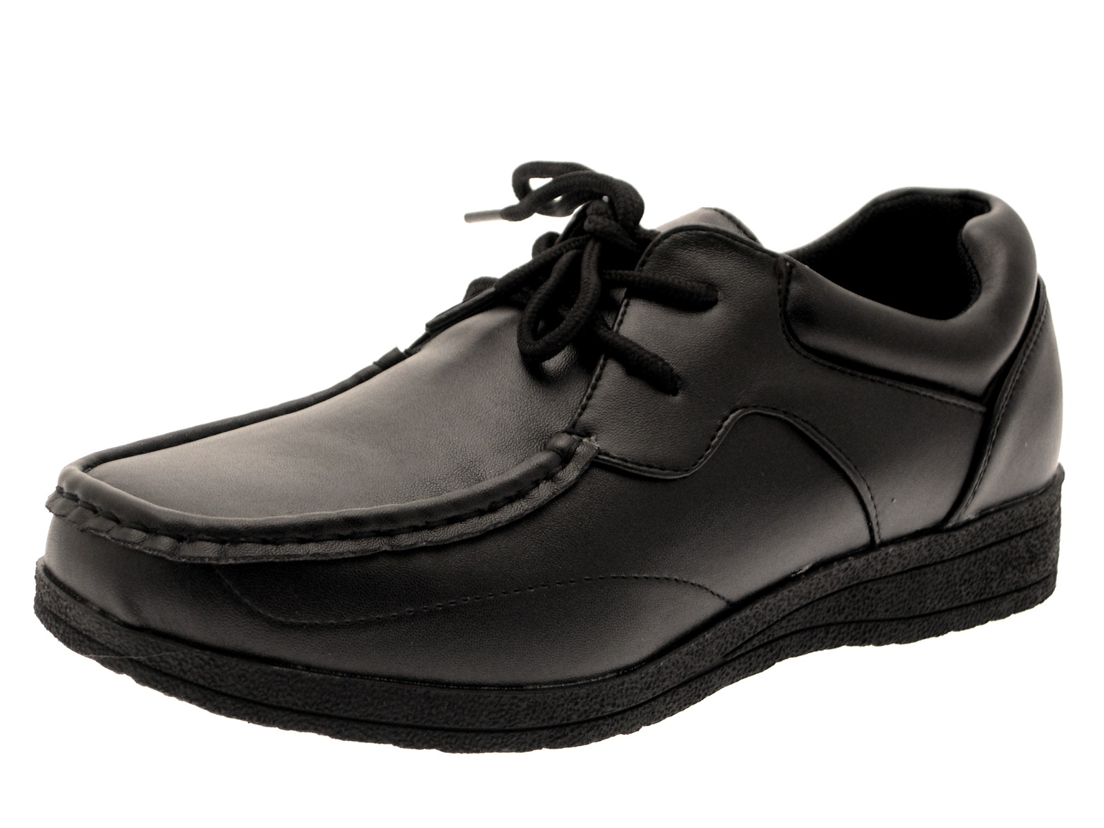 HALF PRICE SALE - Boys Black School Shoes Faux Leather Formal Shoes ... 423149755139