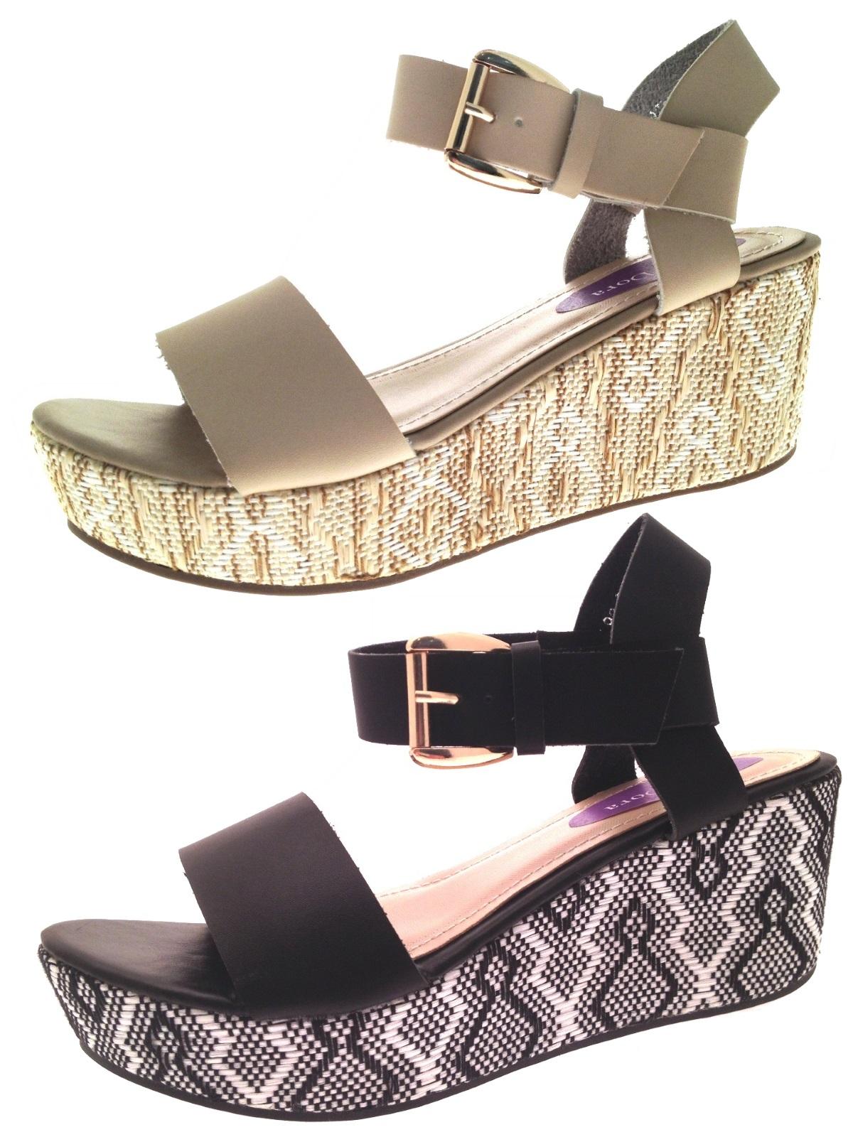 Womens Strappy Platform Wedge Sandals