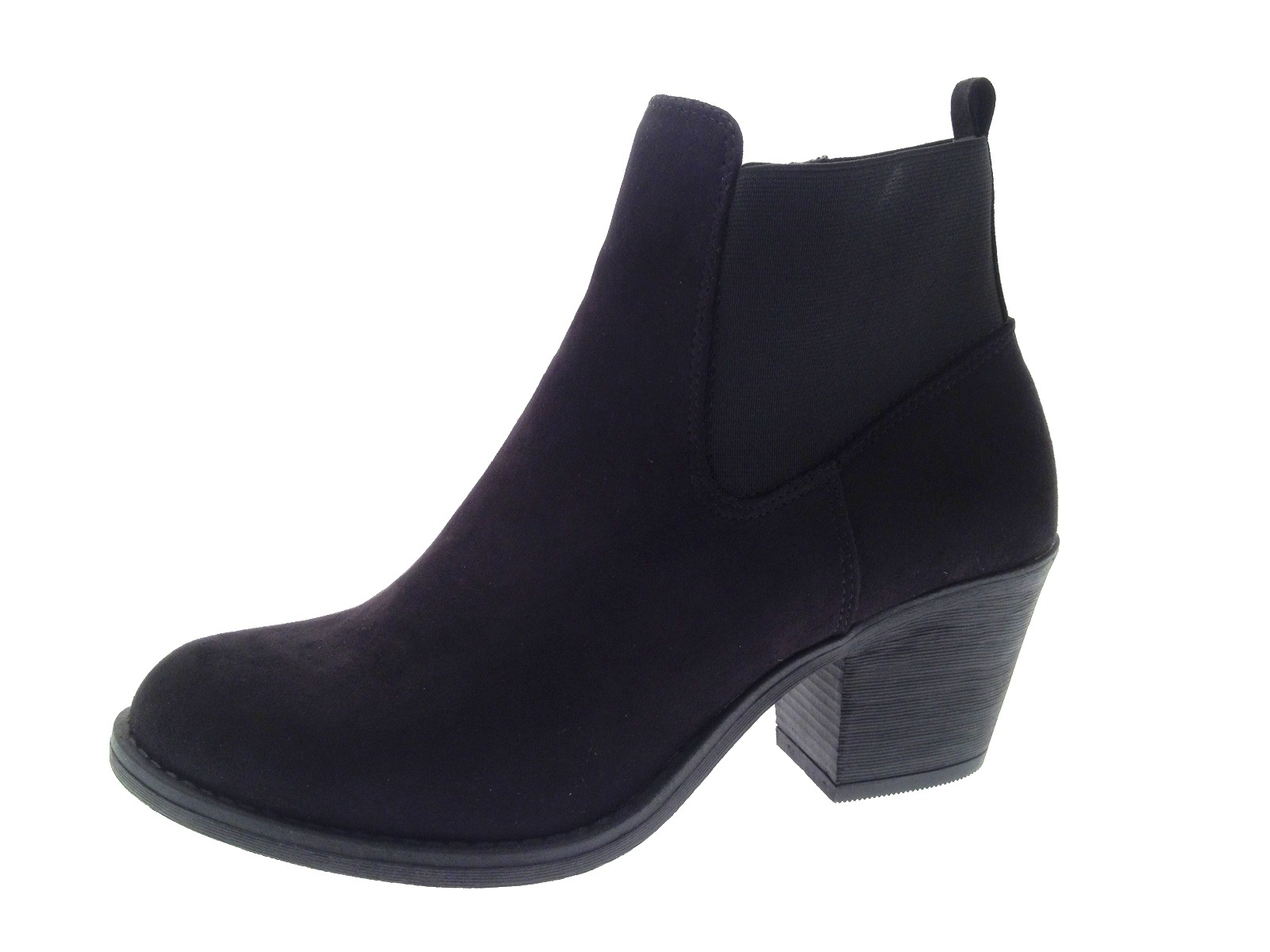 Popular Womens Chunky Block Heel Chelsea Ankle Boots Faux Suede Shoes Girls Size UK 4-8 | EBay