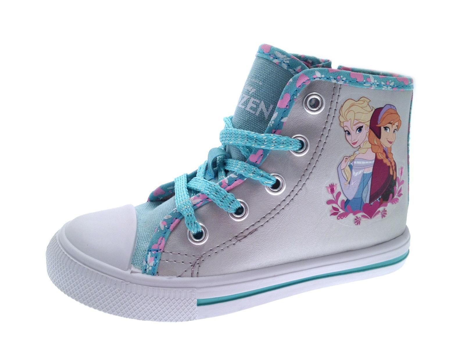 Kids Girls Disney Frozen Lace Up Hi Tops Boots Pumps Trainers Shoes ... 75e92c592c4
