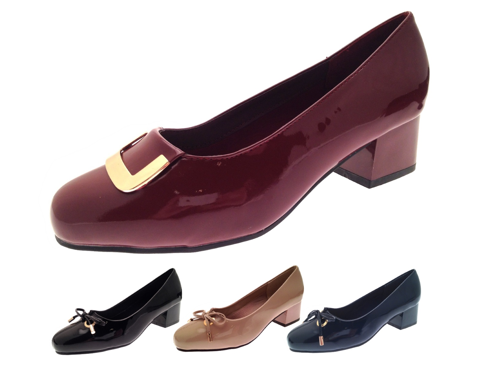 36896b8ec55 Womens Patent Low Block Heels Wide Fit Comfort Court Shoes Ladies Size UK 3  - 8