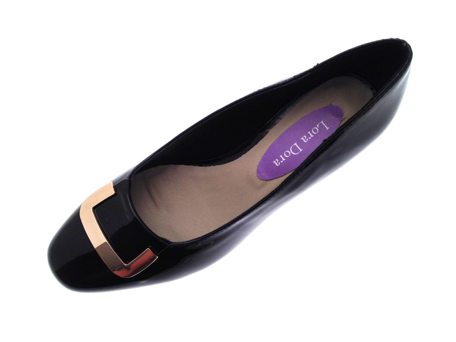 cf47ec6cc4cf Womens Patent Low Block Heels Wide Fit Comfort Court Shoes Ladies ...