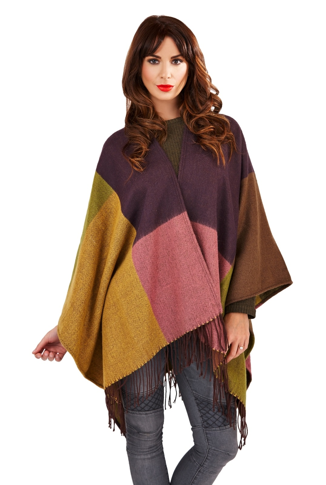 womens warm winter poncho wrap knitted shawl throw cape scarf ladies one size ebay. Black Bedroom Furniture Sets. Home Design Ideas