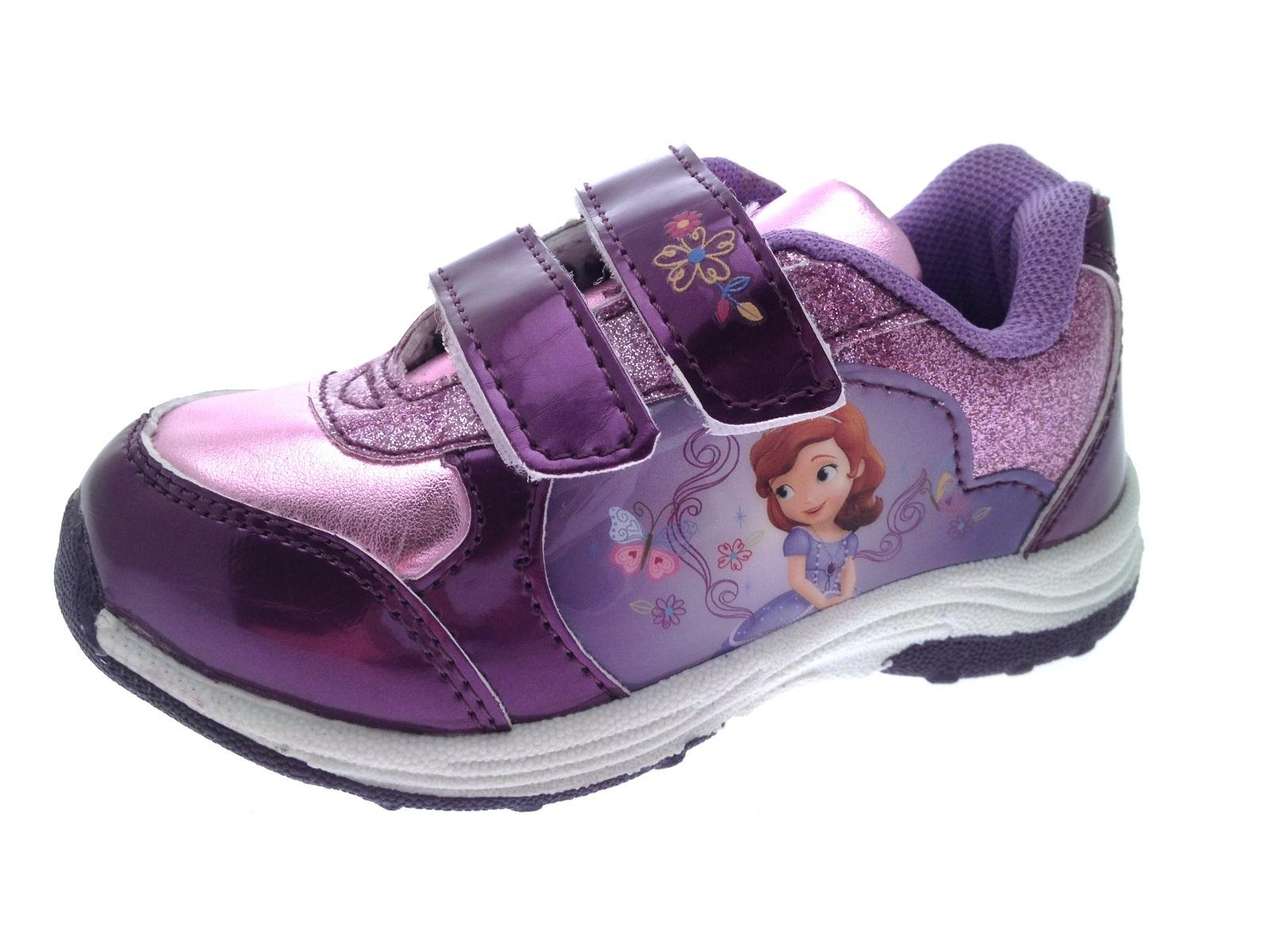 7e63476e9308 Girls Disney Princess Sofia Glitter Trainers Skate Sports Shoes Kids Size 7 -11
