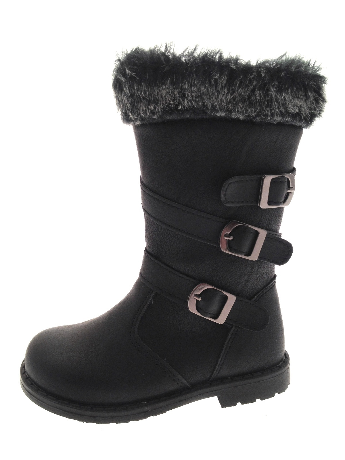 75a9000282df Chatterbox Girls Fur Cuff Ankle Strappy Biker Boots Childrens Shoes ...