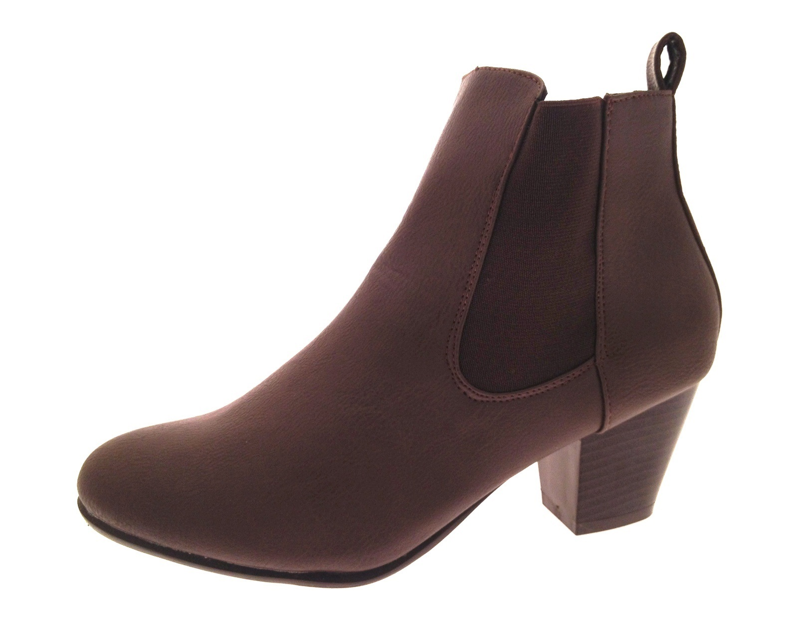 fd69aba5b2f98 Womens Chunky Block Heel Chelsea Ankle Boots Wide Fitting Comfort ...