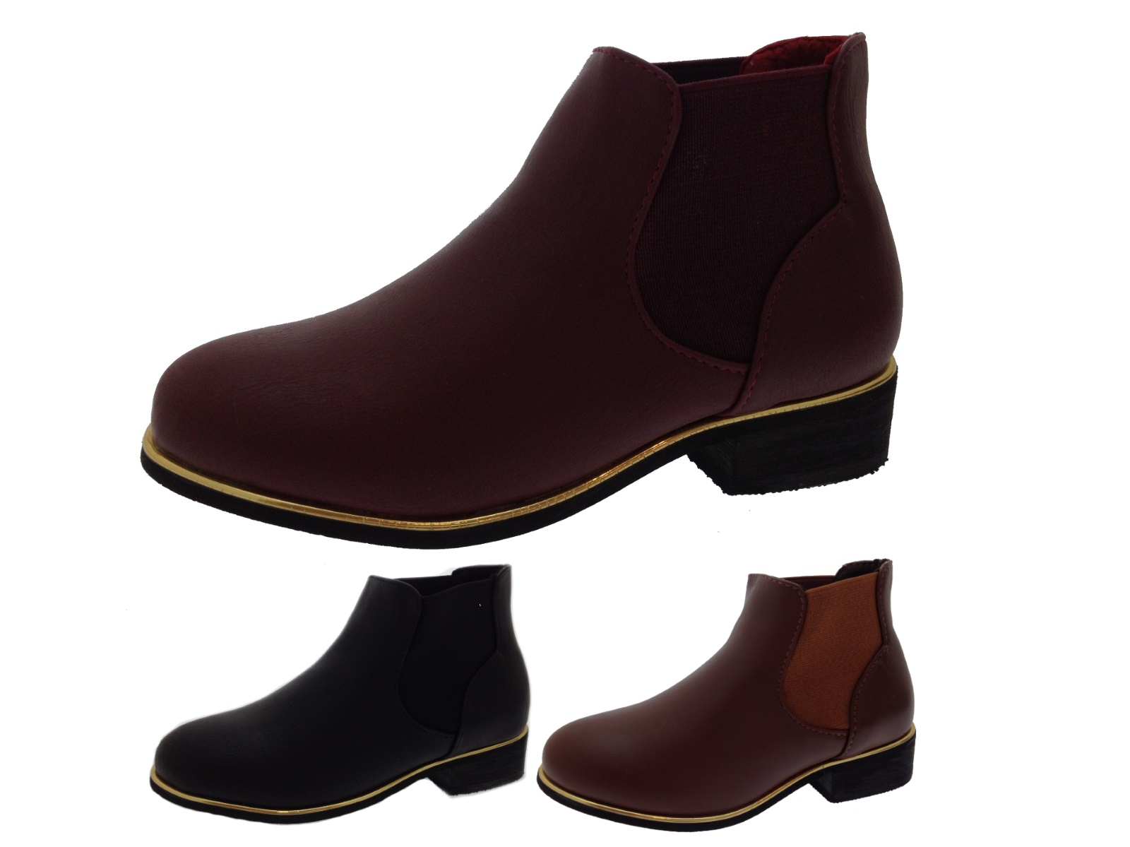 Womens Girls Faux Leather Chelsea Ankle