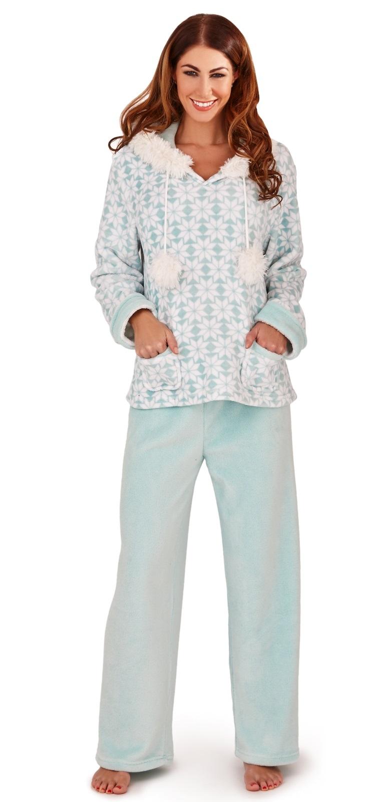 Womens Fleece Lounge Pants Hooded Jumper Set Warm