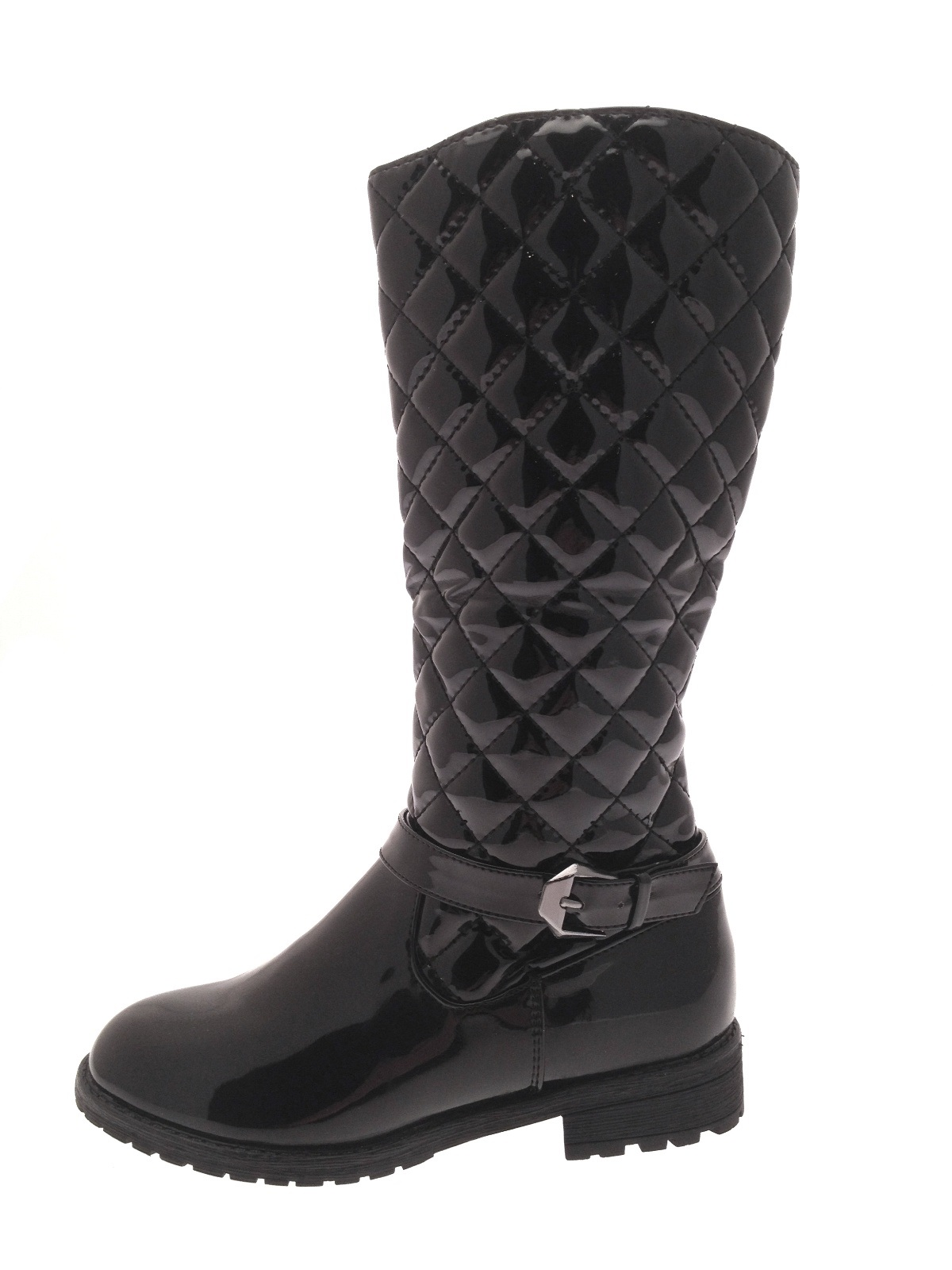 Girls Quilted Ankle / Knee High Boots Fashion Riding Biker Shoes Size UK 10 - 3