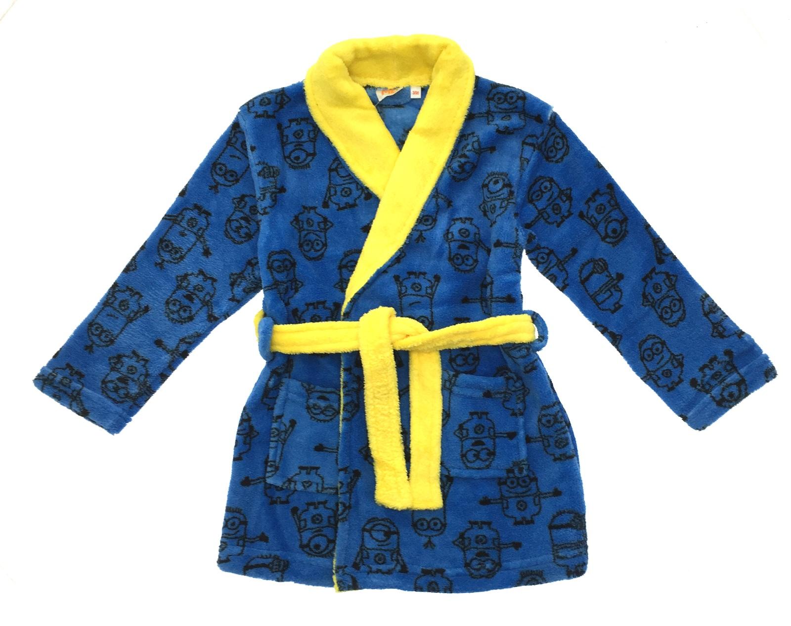 Boys Girls Despicable Me Minions Fleece Bath Robe Kids Dressing Gown ...