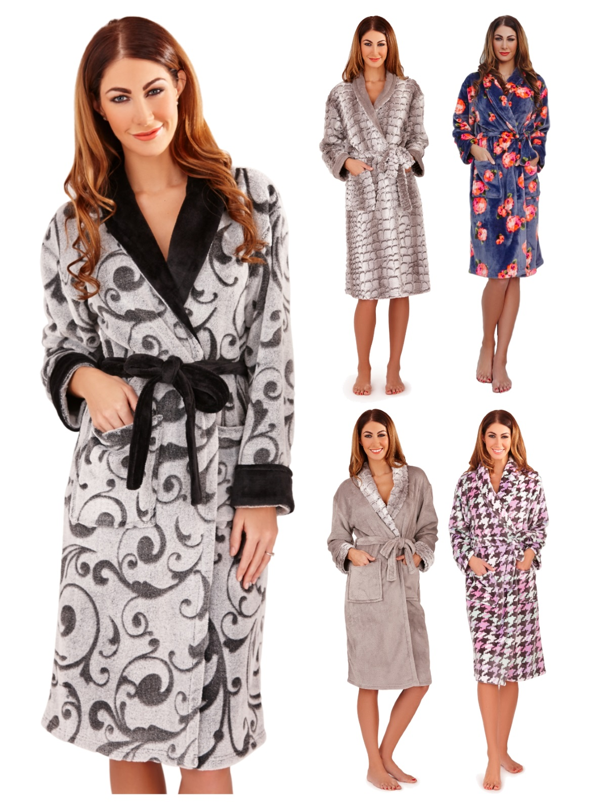 Womens Full Length Dressing Gown Bath Robe Housecoat + Belt Ladies ...