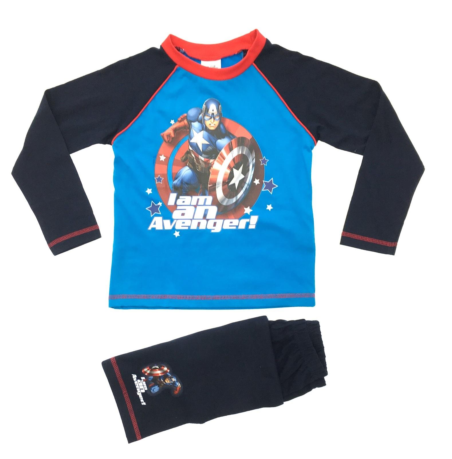 0e85b256a1 Kids Boys Pyjamas Marvel Avengers Captain America Pjs Childrens Size ...