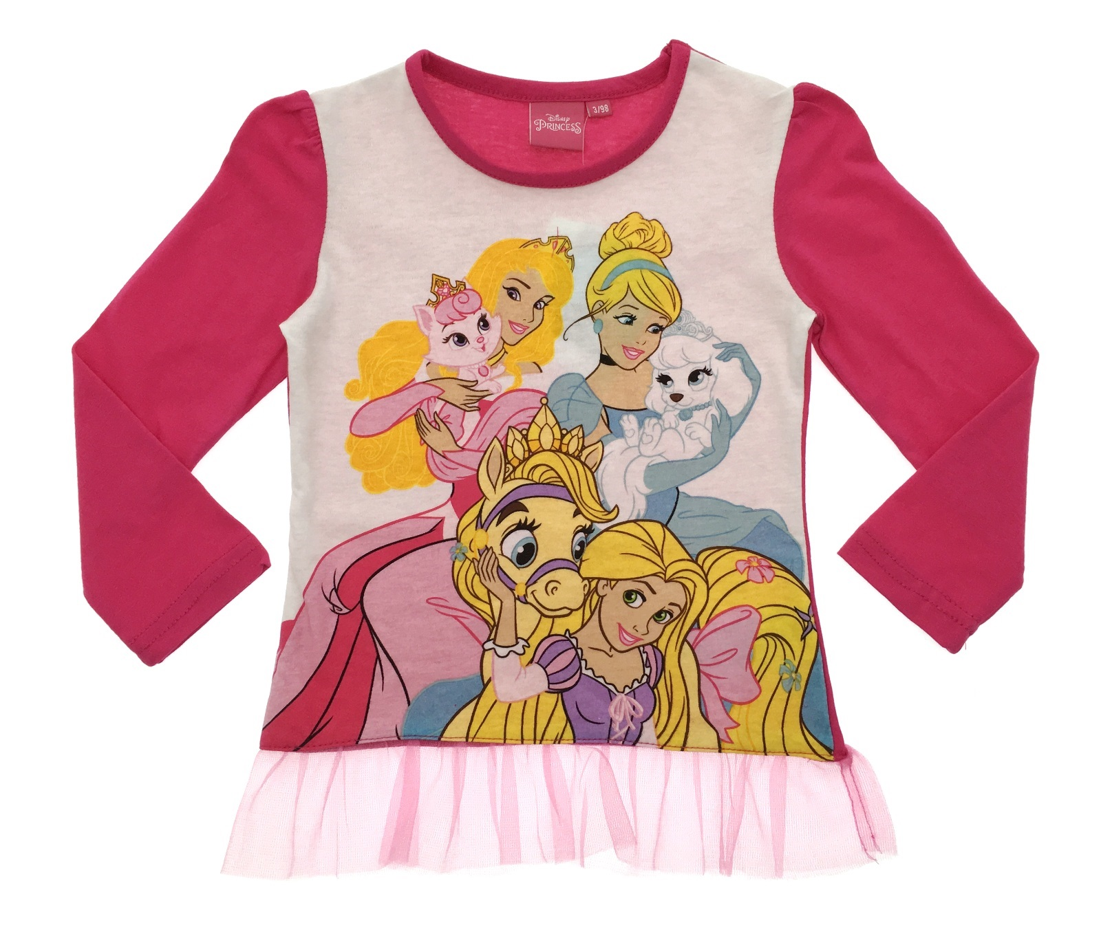 24f81772660 Kids Girls Disney Princess Cinderella Long Sleeve Top T-Shirt Tulle ...