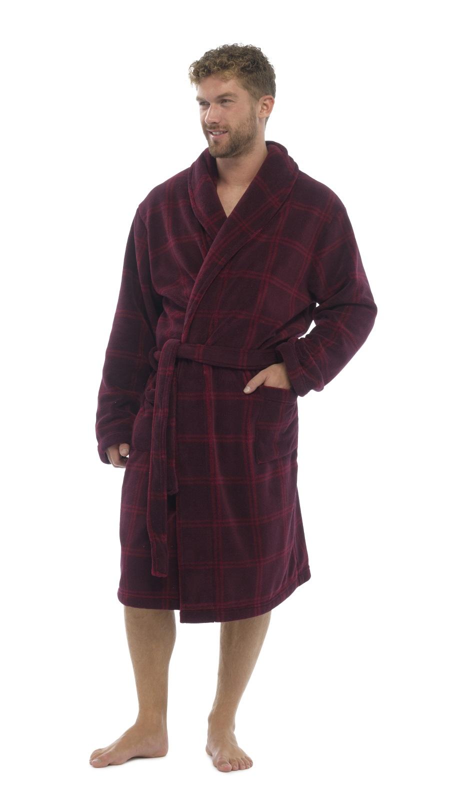 Mens Luxury Full Length Velour Fleece Robe Dressing Gown Boys Gents