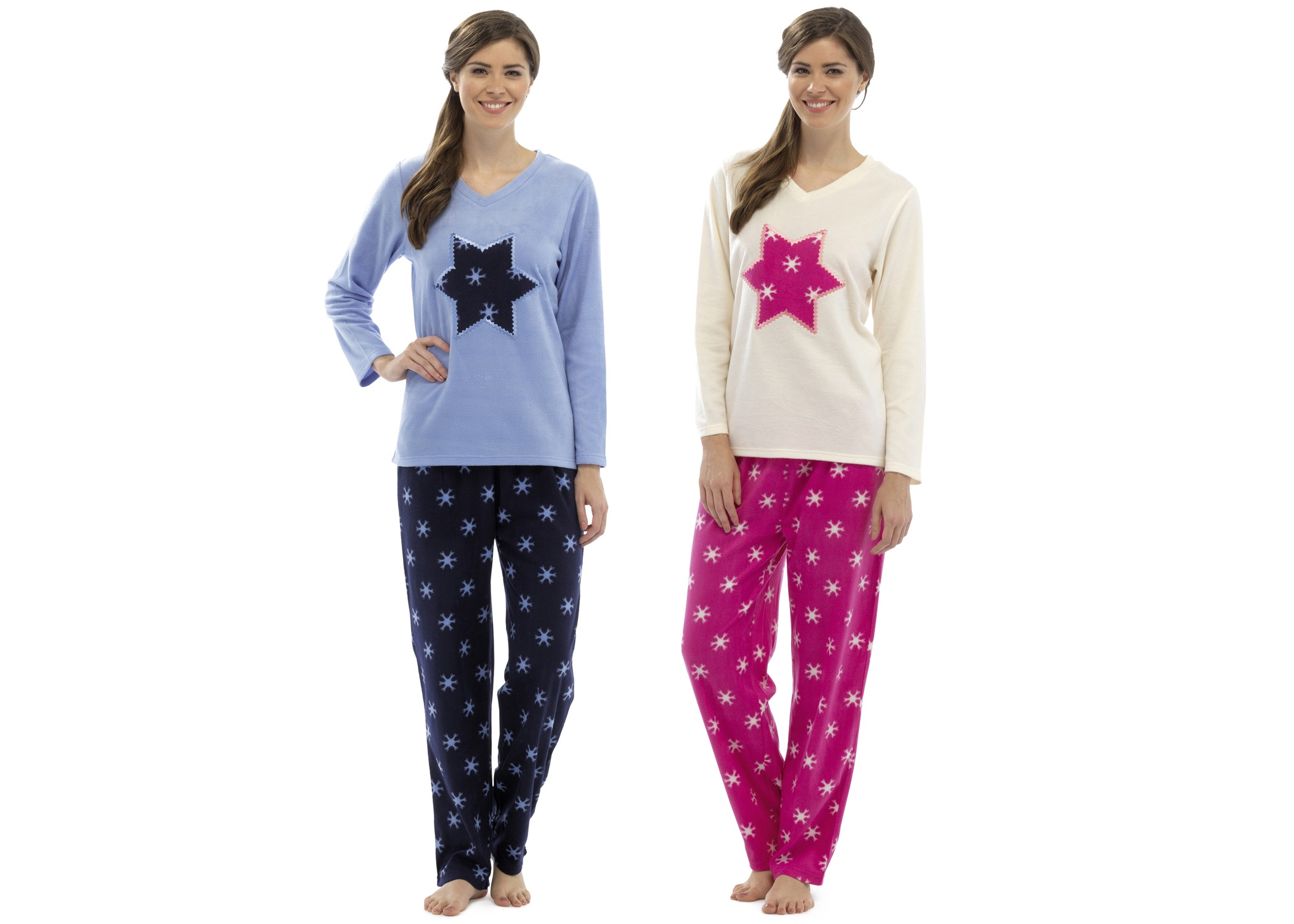 8209d82cb0a3 Womens Fleece Pyjamas Full Length Pjs Long Sleeve Lounge Set Ladies ...