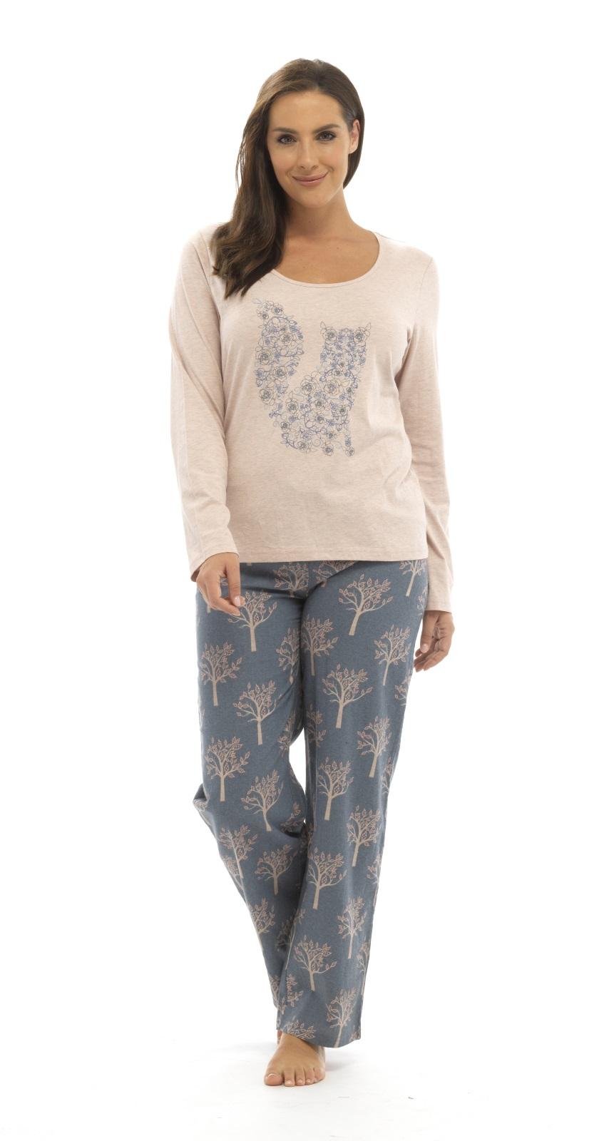 4fbaf398e1 Womens Long Pyjamas 2 Piece Set Long Sleeved Nightwear Ladies Pjs ...