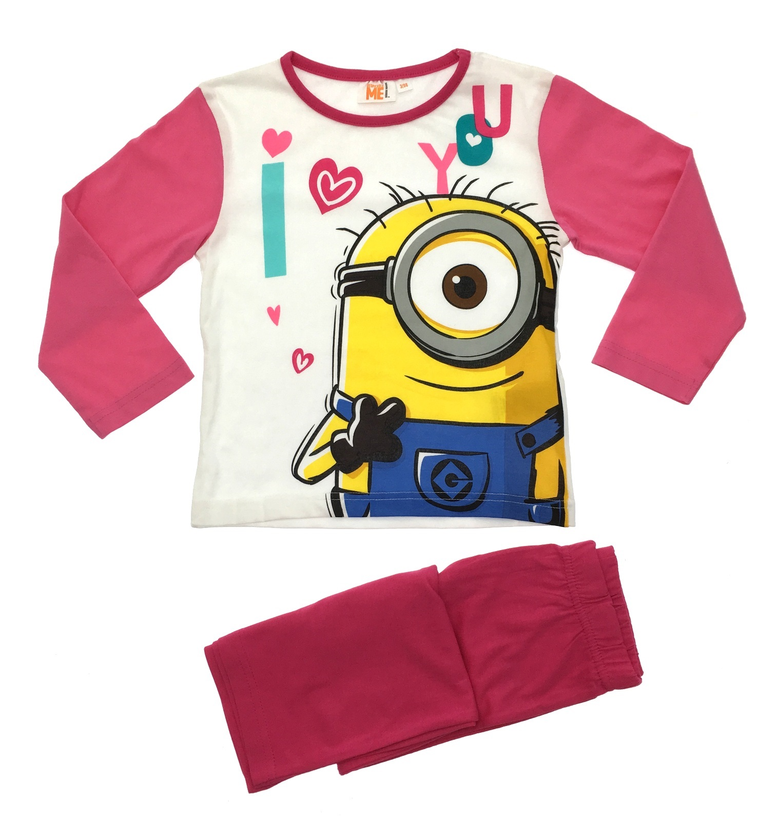 8716f9fc8 Kids Girls Pyjamas Despicable Me Minions Long 2 Piece Pj s Set Size ...