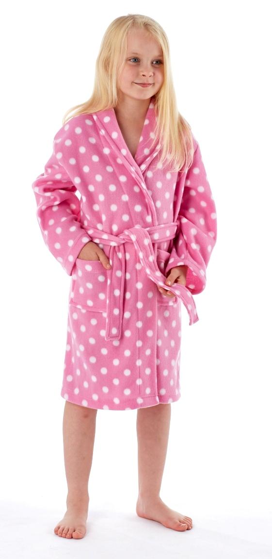 Girls Hooded Dressing Gown Soft Fleece Bathrobe Novelty Winter ...