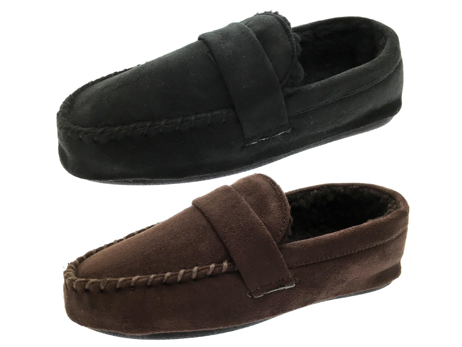 Mens Moccasins Faux Suede Slippers Warm Winter Faux Fur Lined Shoes Size UK 7-12 | EBay