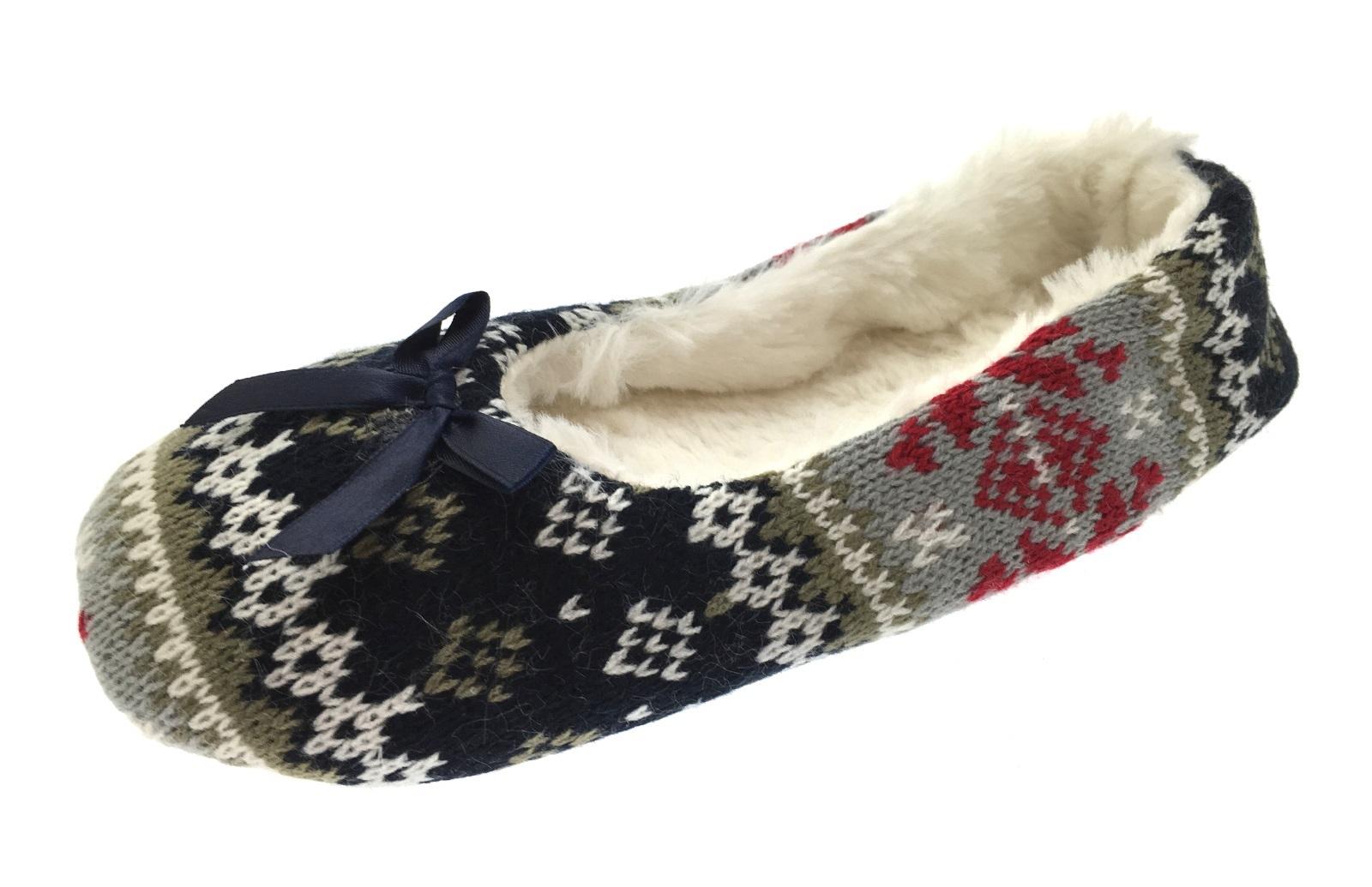 Para Mujer Zapatillas Pug Bear Arco mulas Chicas Damas de punto Ballet Bombas tamaño del Reino Unido 3-8
