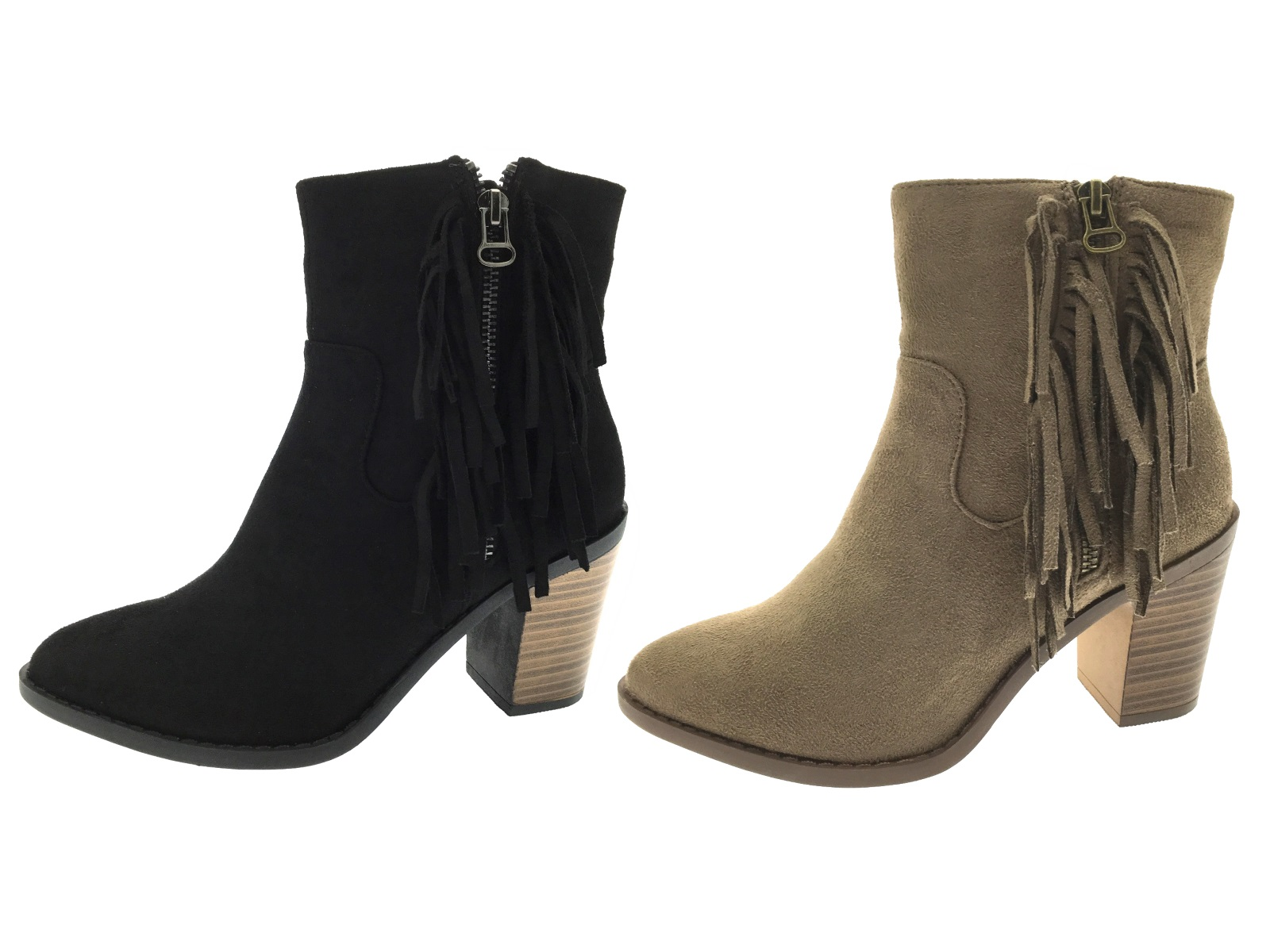 c0a3deee81a HALF PRICE SALE Womens Ankle Boots Chunky Mid Block Tassel High Heels Shoes