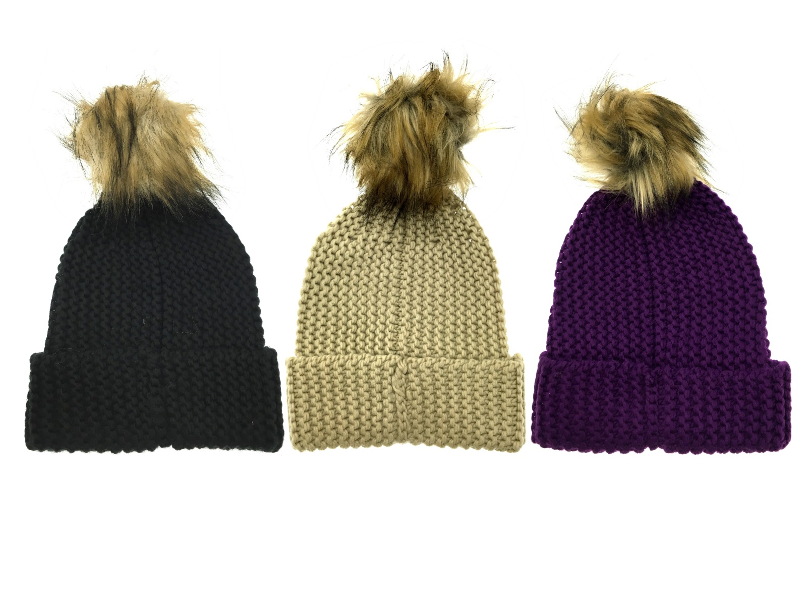 Womens Luxury Chunky Knit Hat Faux Fur Trim Pom Pom Knitted Beanie Bobble  Hat ba03b48e75