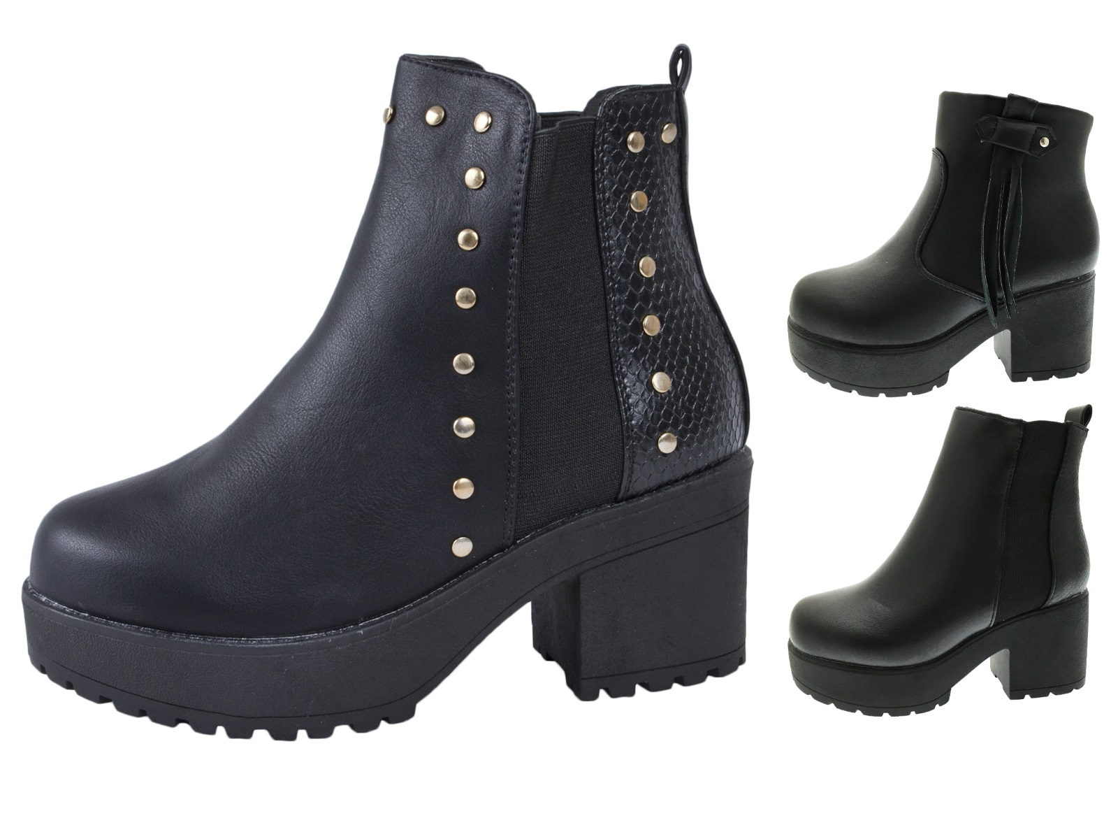 346a602f487 Details about Kids Girls Mid Chunky Block Heel Chelsea Low Ankle Boots  Platforms Shoes Size