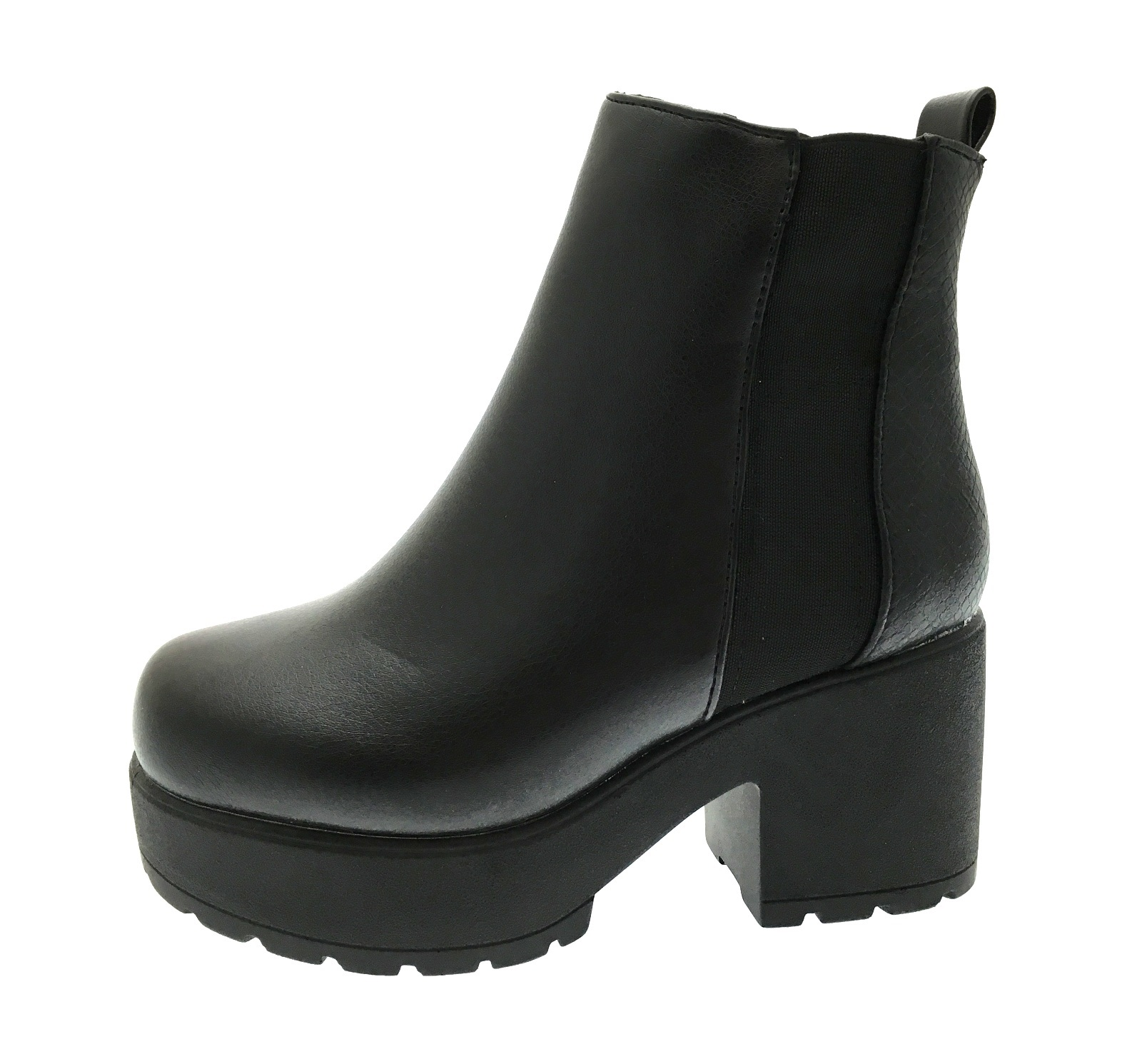 643cb500dffbb Kids Girls Mid Chunky Block Heel Chelsea Low Ankle Boots Platforms ...