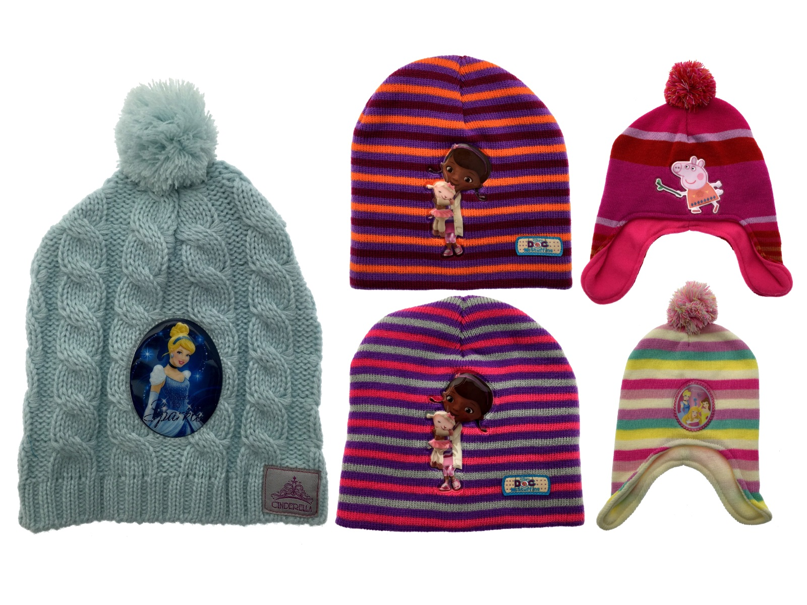 Kids Girls Character Hat Knitted Warm Winter Beanie Bobble Trapper Peruvian  Hats c0b08524310