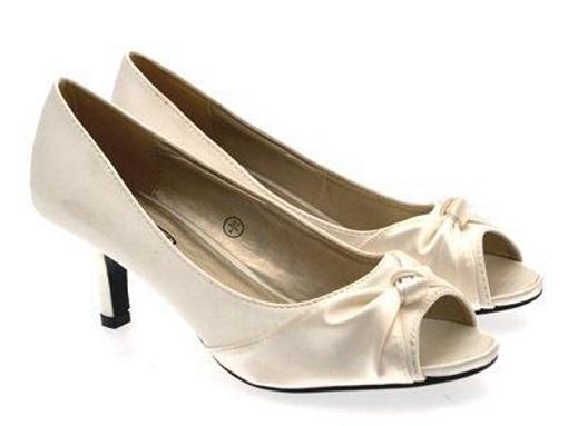 Womens-Satin-Bridal-Wedding-Shoes-Low-Heel-Comfort-