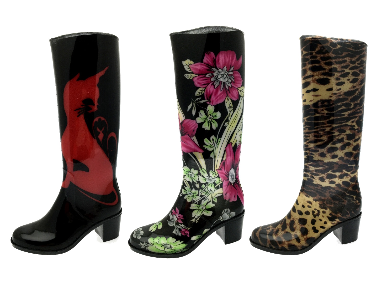 Womens High Heel Wellies Waterproof Wellington Boots Snow Rain Shoes Ladies  Size 0f4f15014b