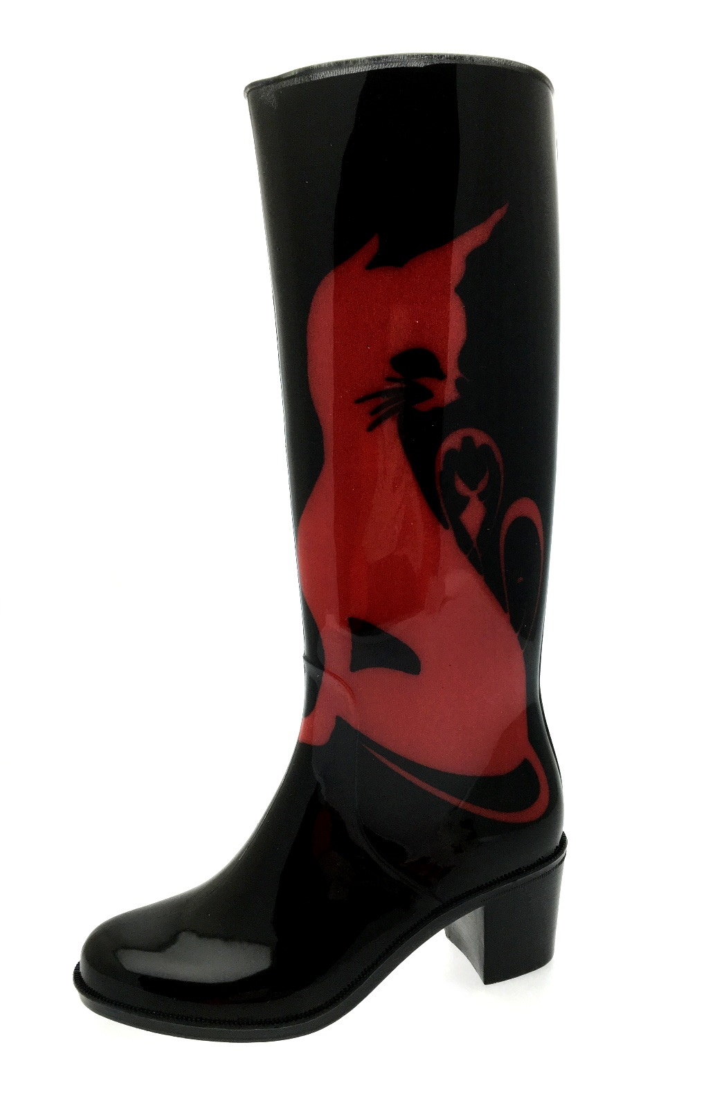 Womens High Heel Wellies Waterproof Wellington Boots Snow