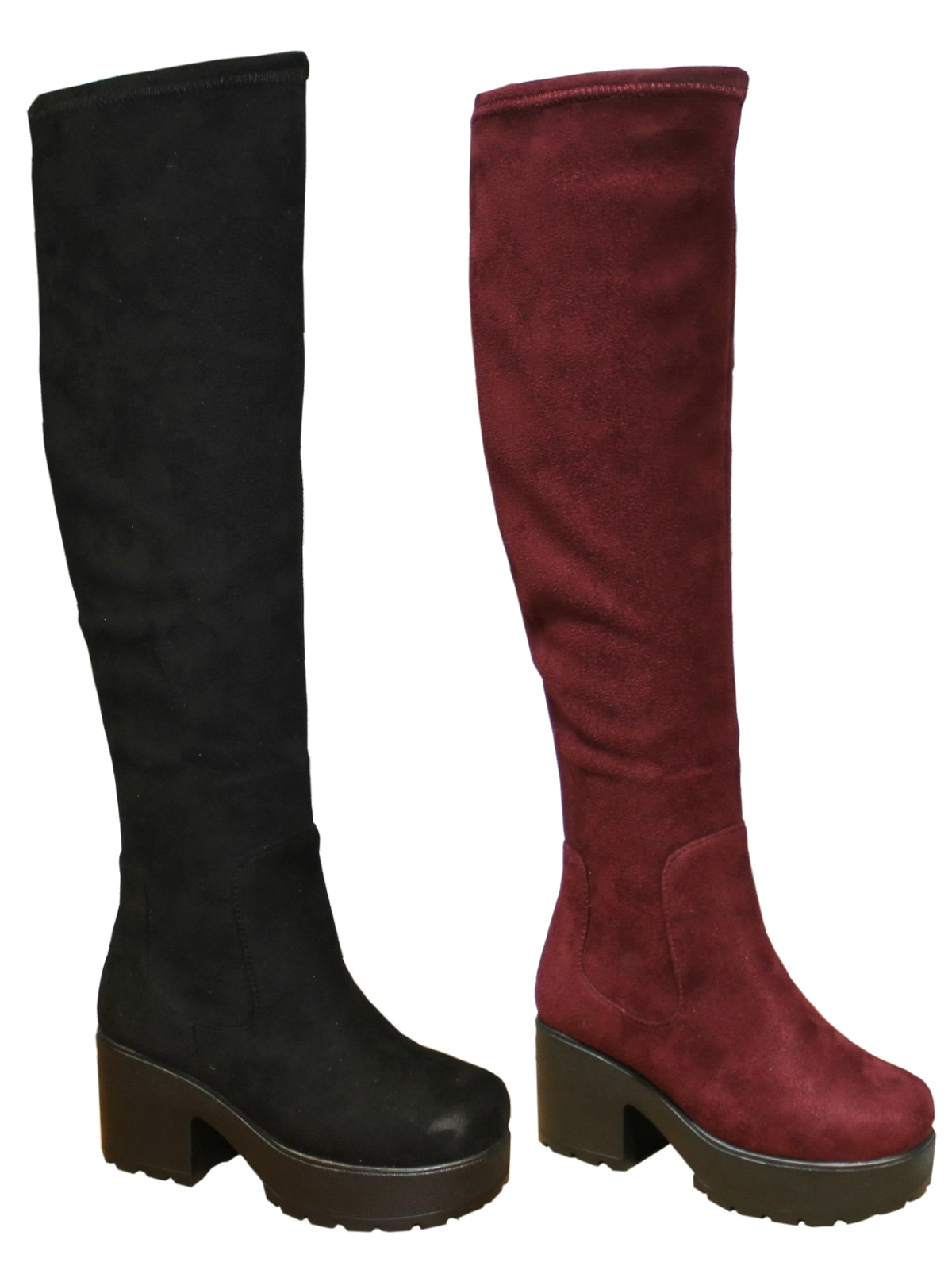 f8228f812d7b Kids Girls Chunky Block Heel Chelsea Over Knee High Boots Thigh High  Platforms S